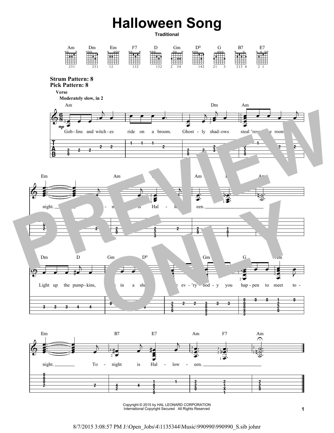 Halloween Song (Easy Guitar Tab)