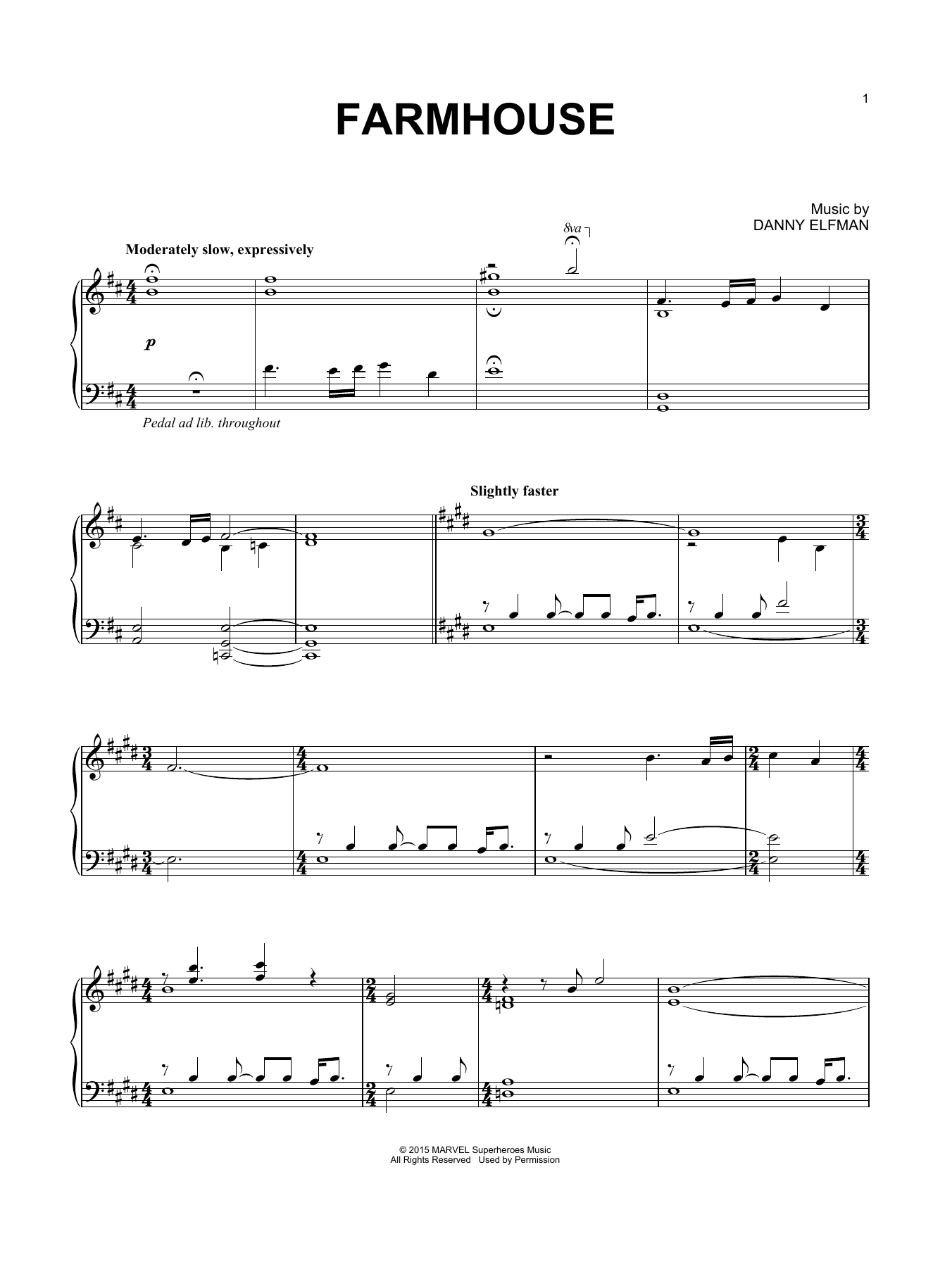Farmhouse (from Avengers: Age of Ultron) Sheet Music