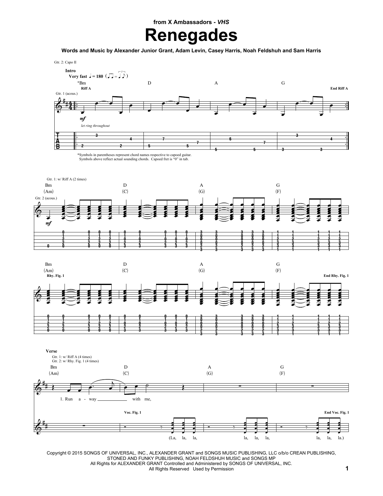 Renegades by X Ambassadors Guitar Lead Sheet Digital Sheet Music