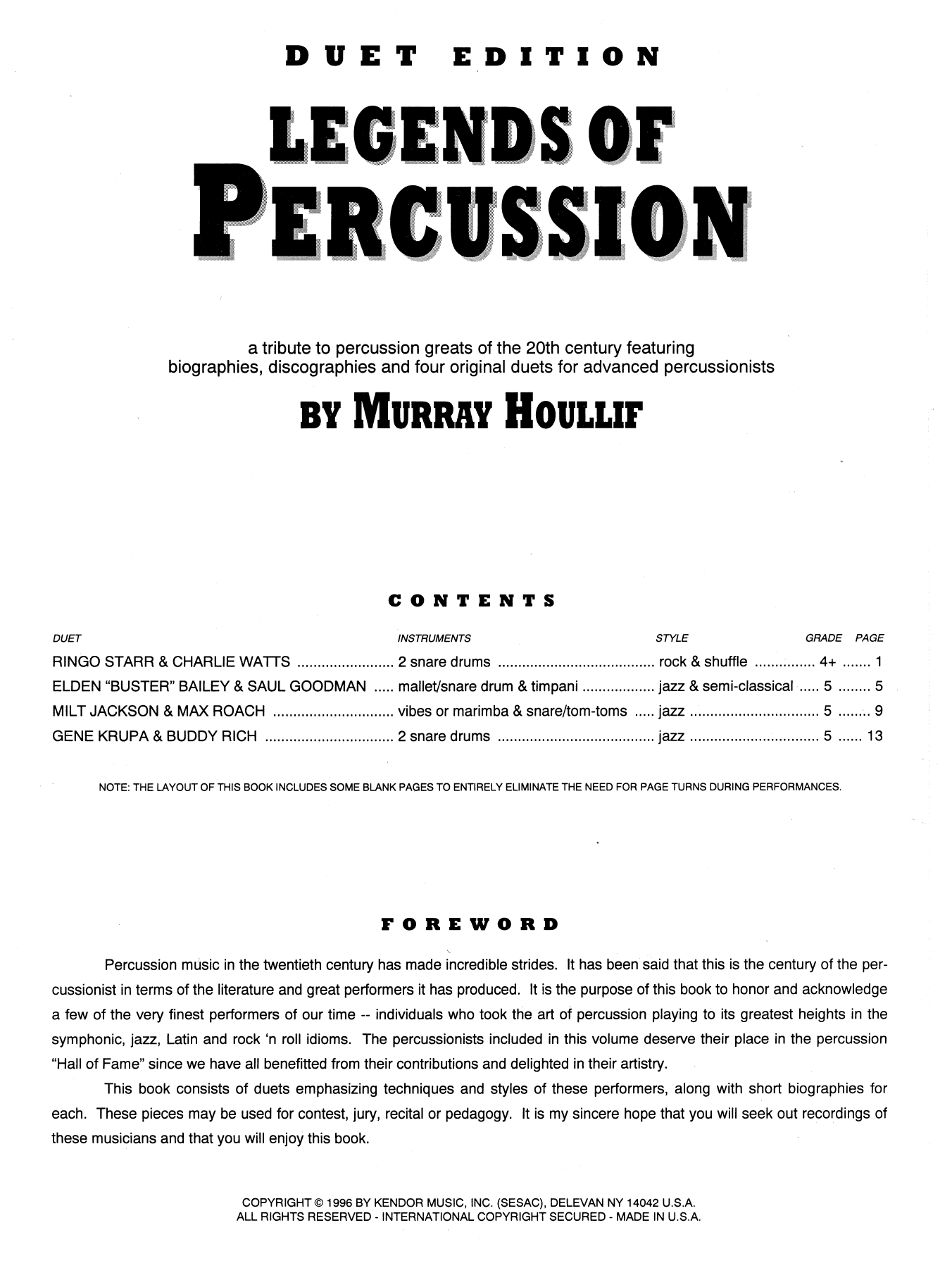 Legends Of Percussion, Duet Edition Sheet Music