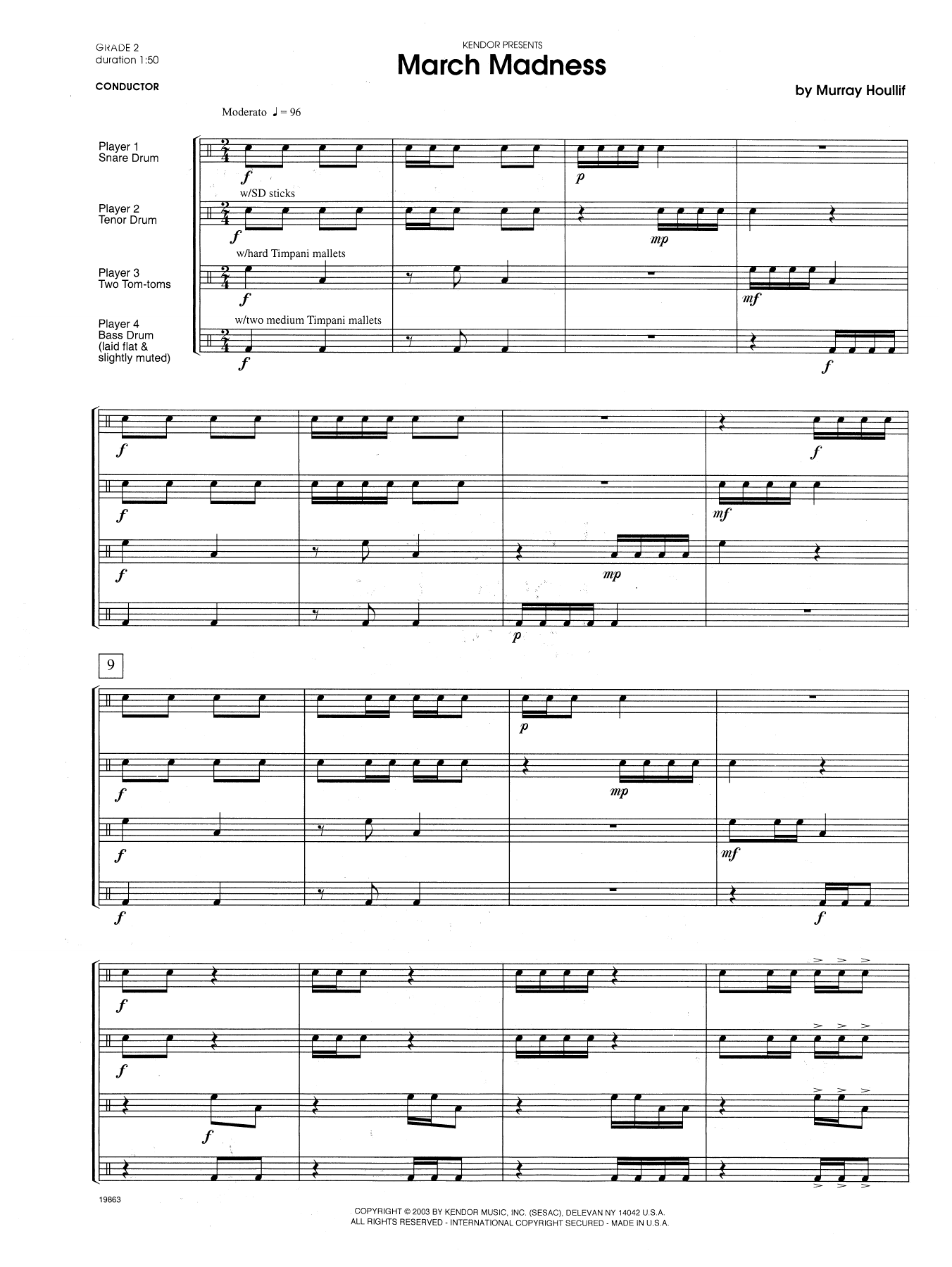 March Madness (COMPLETE) sheet music for percussions by Houllif. Score Image Preview.