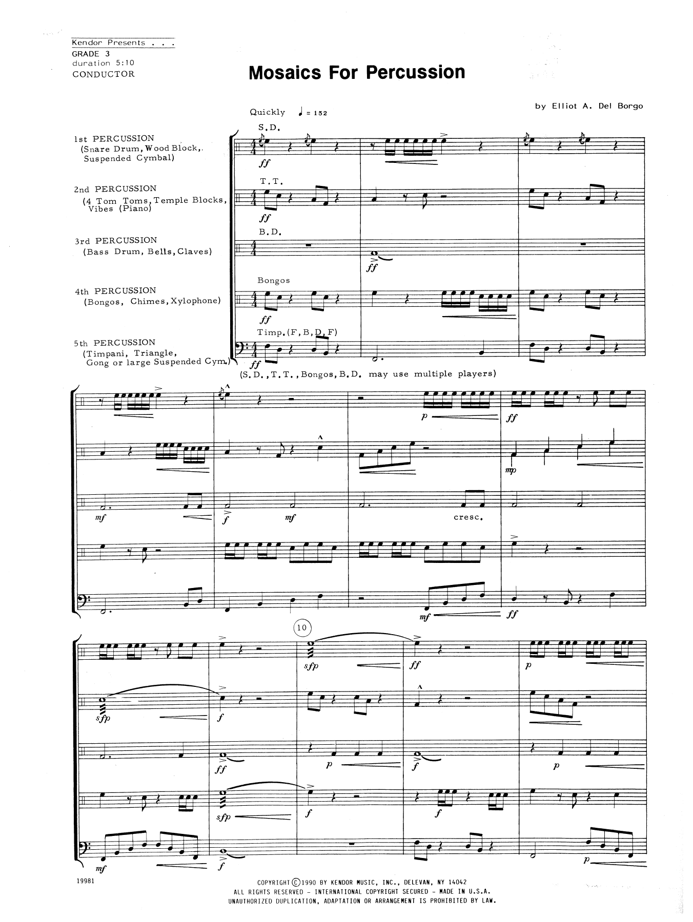 Mosaics For Percussion (COMPLETE) sheet music for percussions by Elliot A. Del Borgo. Score Image Preview.