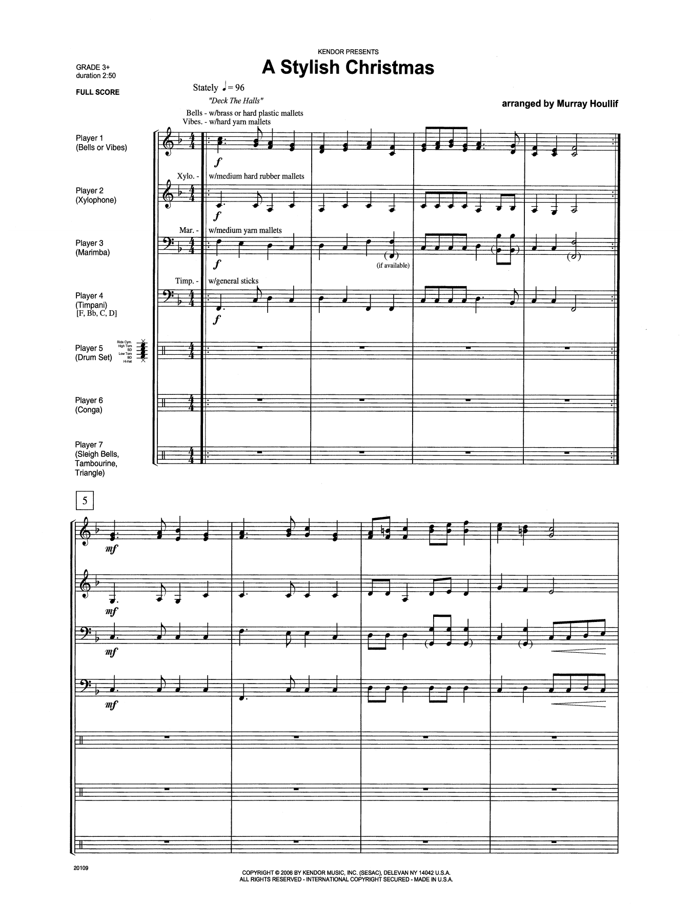 A Stylish Christmas (COMPLETE) sheet music for percussions by Houllif. Score Image Preview.