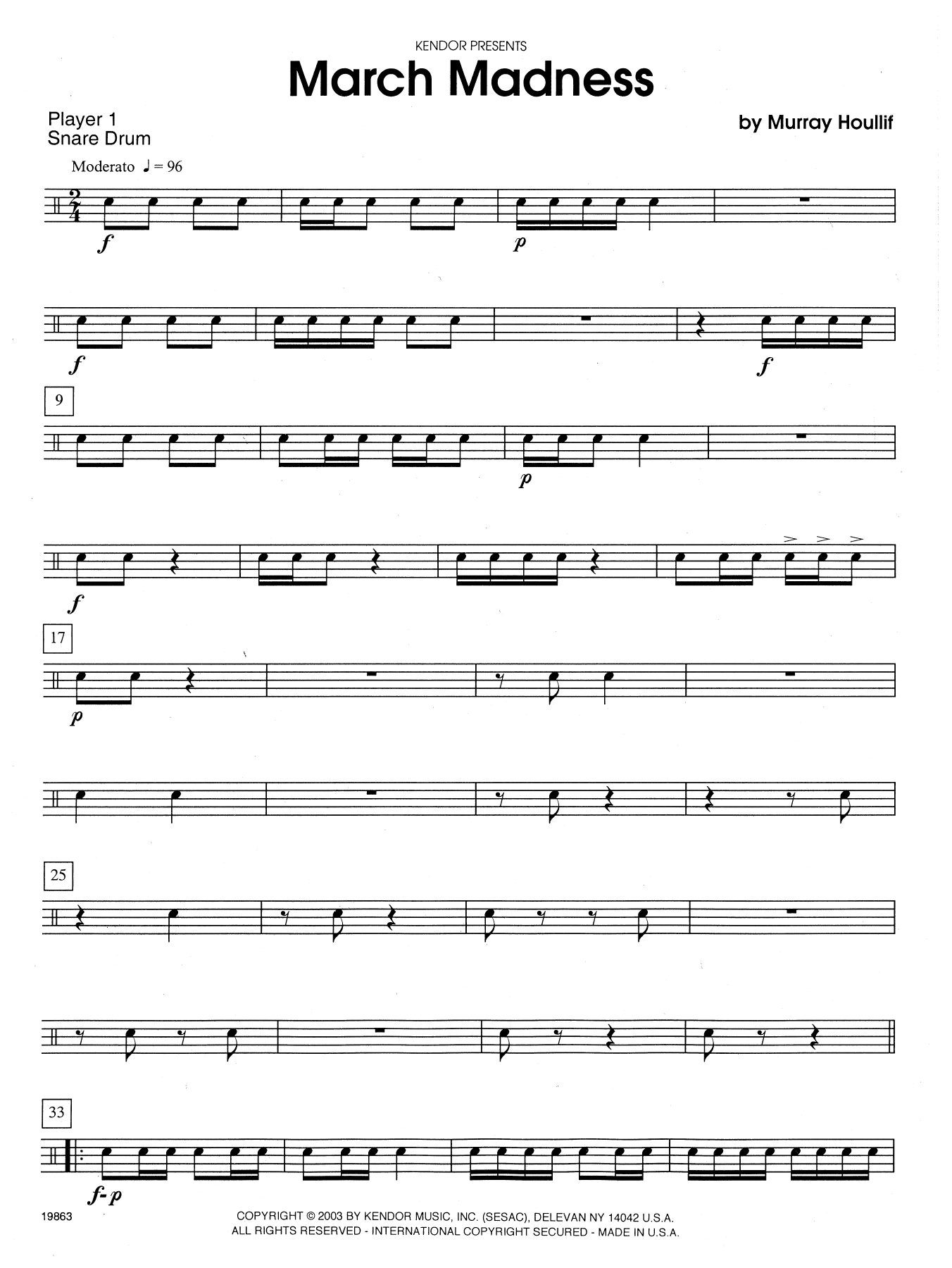 March Madness - Percussion 1 Sheet Music