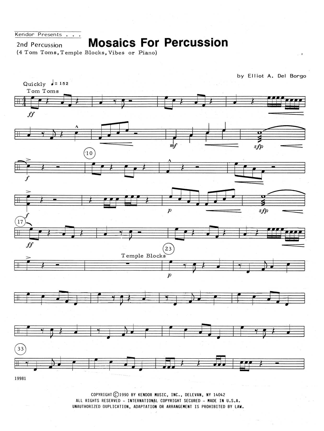 Mosaics For Percussion - Percussion 2 Sheet Music