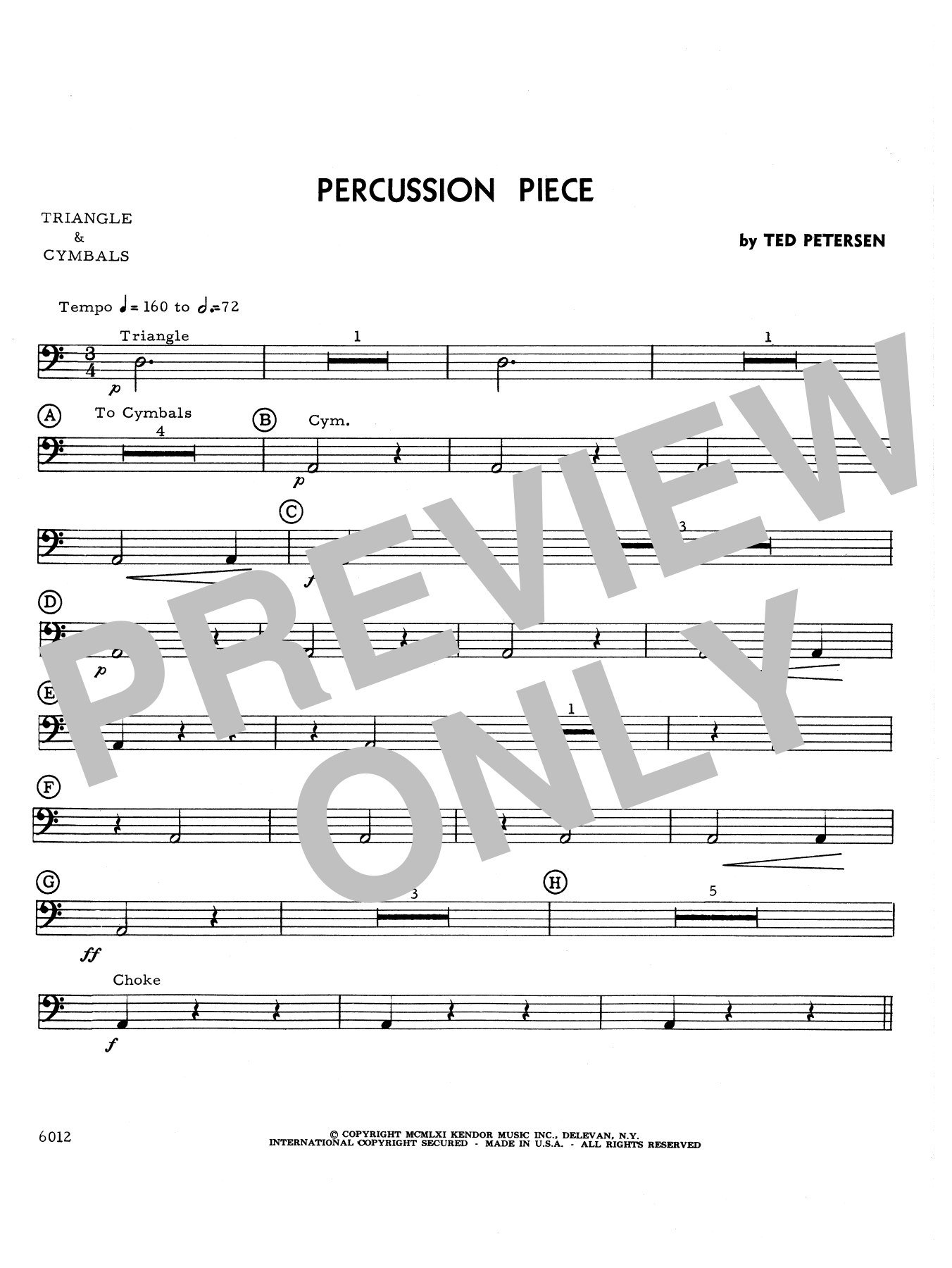 Percussion Piece - Percussion 4 Sheet Music