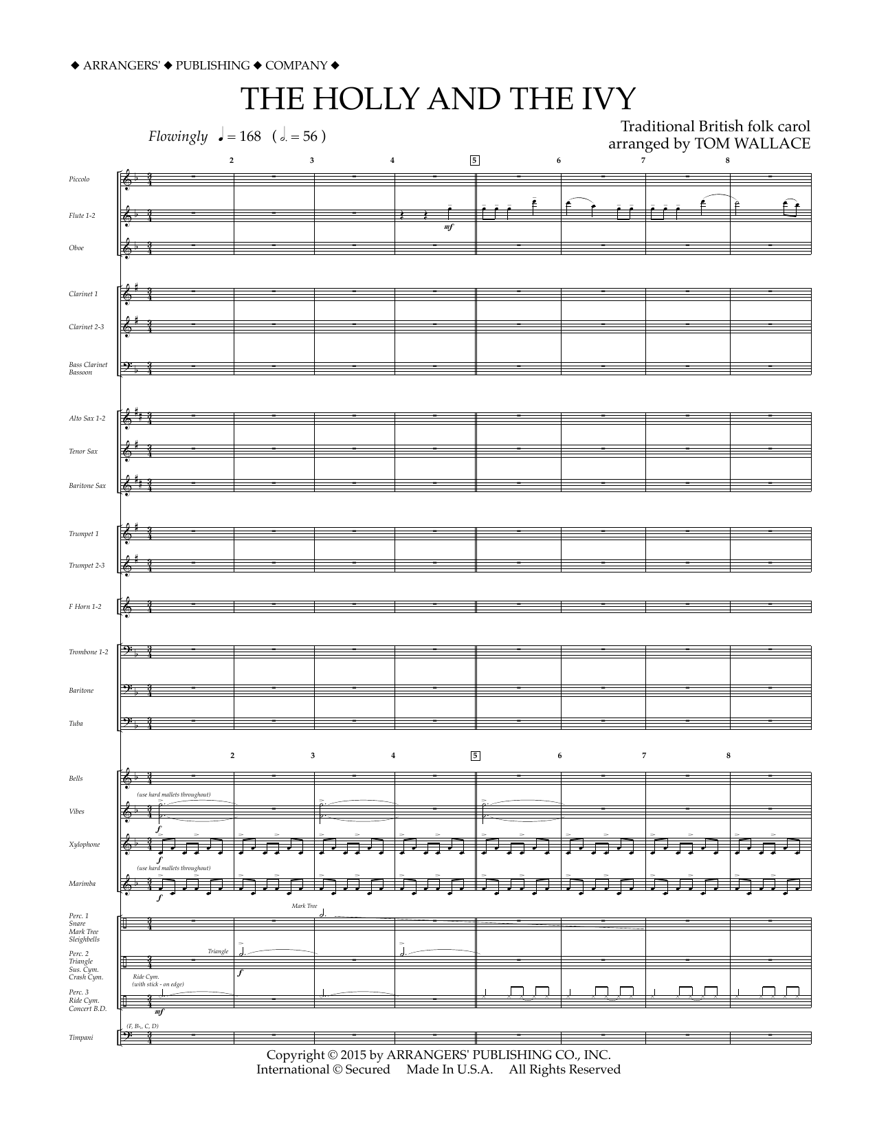 The Holly and the Ivy (COMPLETE) sheet music for concert band  and Tom Wallace. Score Image Preview.