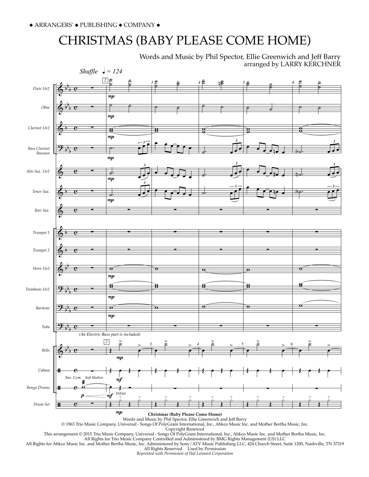 Christmas (Baby Please Come Home) (COMPLETE) sheet music for concert band by Larry Kerchner, Ellie Greenwich, Jeff Barry, Mariah Carey and Phil Spector. Score Image Preview.