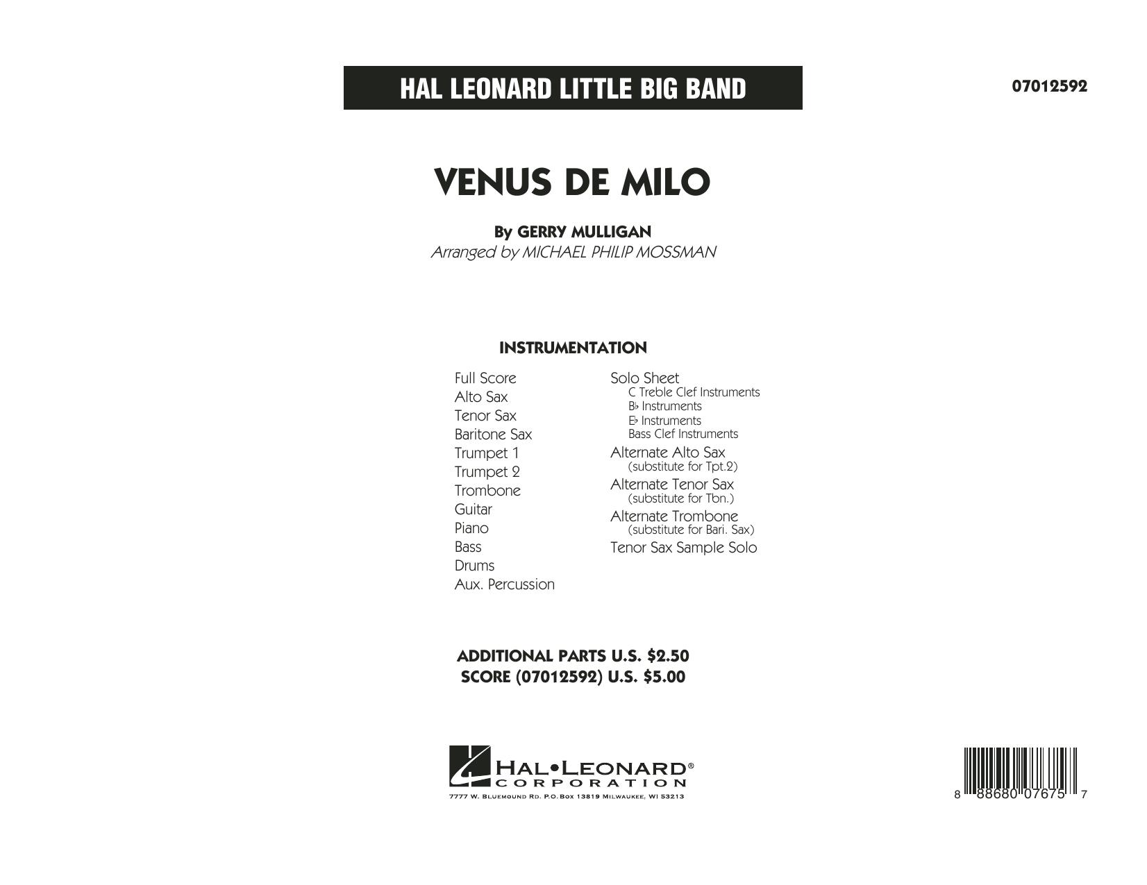 Venus de Milo (COMPLETE) sheet music for jazz band by Michael Philip Mossman, Gerry Mulligan and Miles Davis. Score Image Preview.