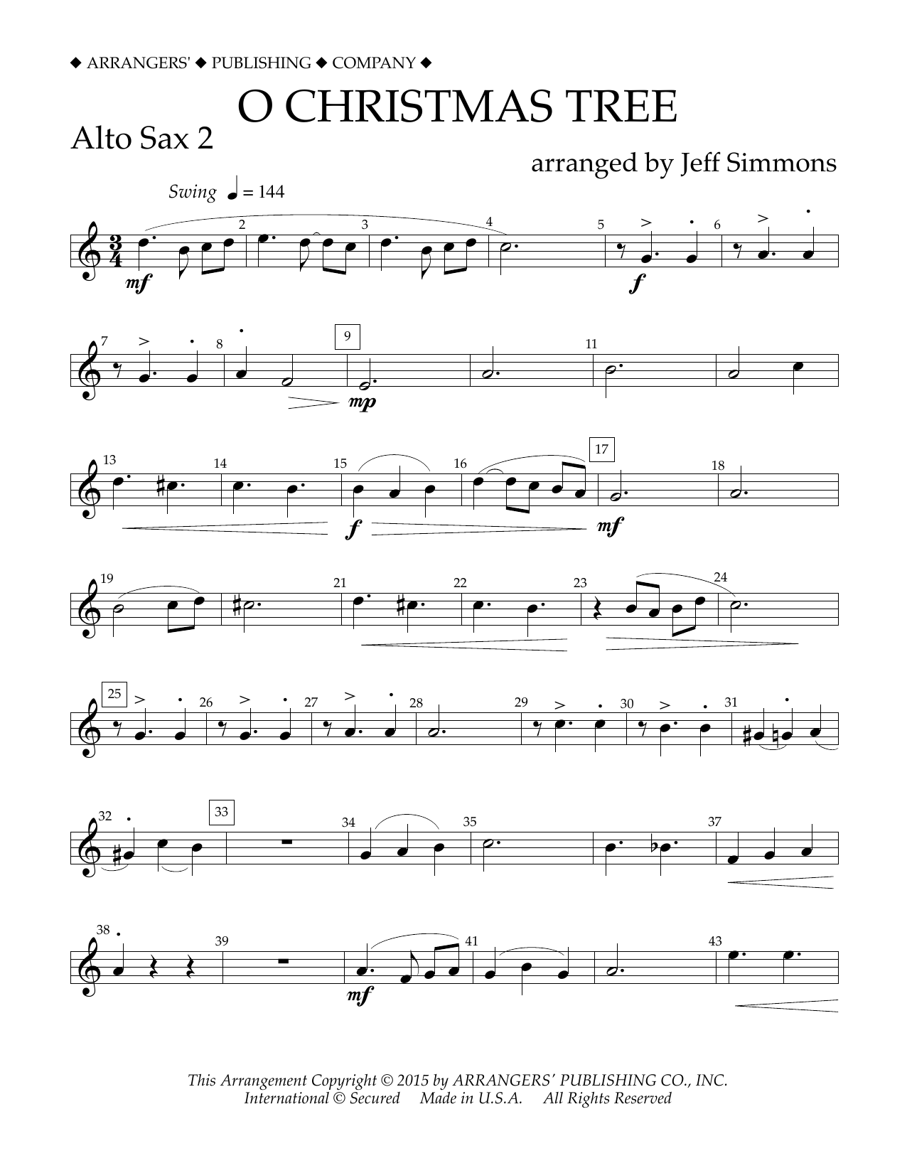 O Christmas Tree - Eb Alto Saxophone 2 Sheet Music | Jeff Simmons ...
