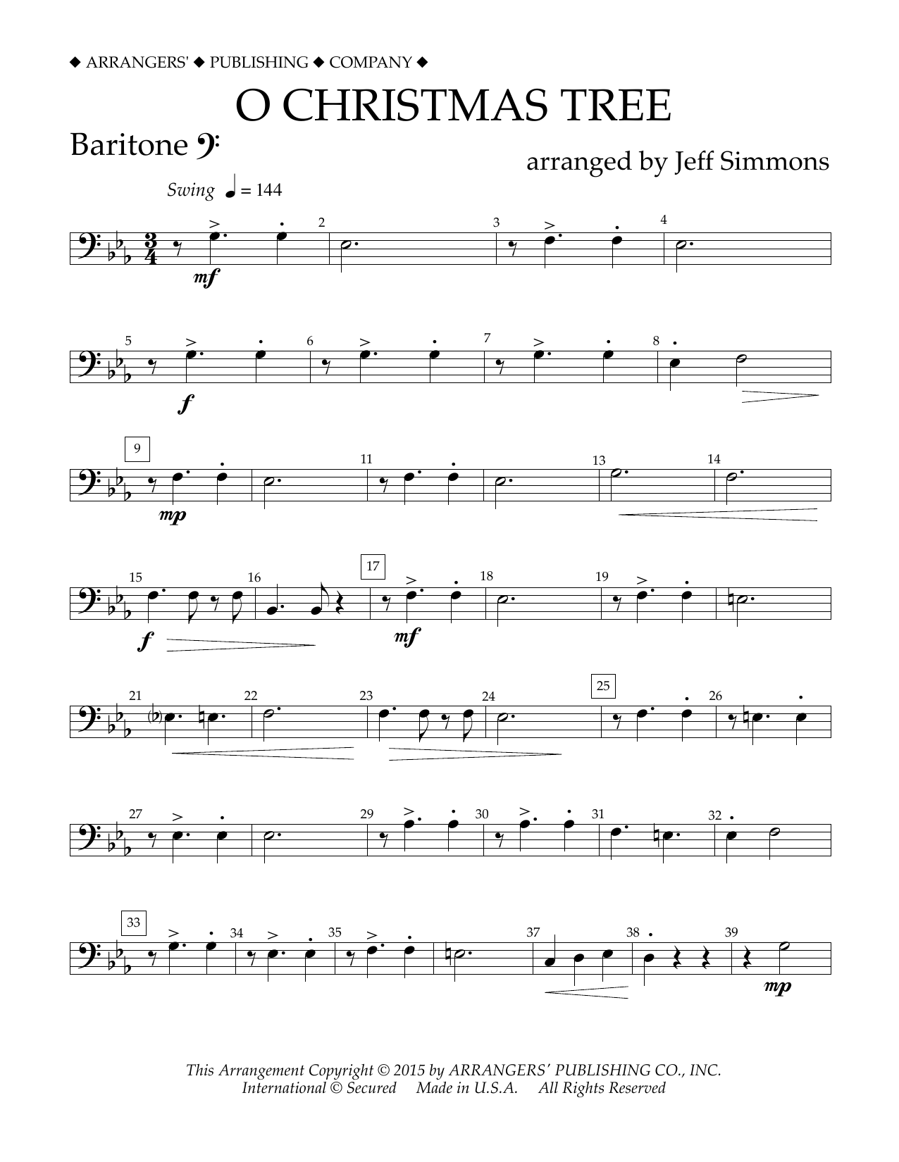 O Christmas Tree - Baritone B.C. Sheet Music | Jeff Simmons ...