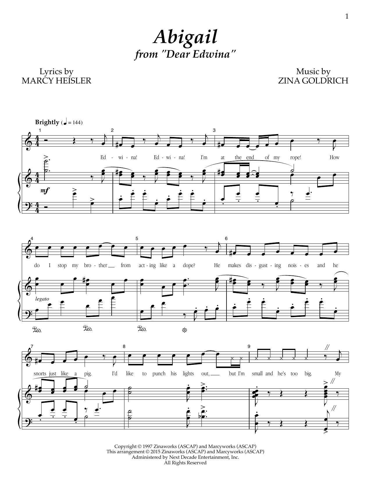 Partition piano Abigail de Goldrich & Heisler - Piano Voix