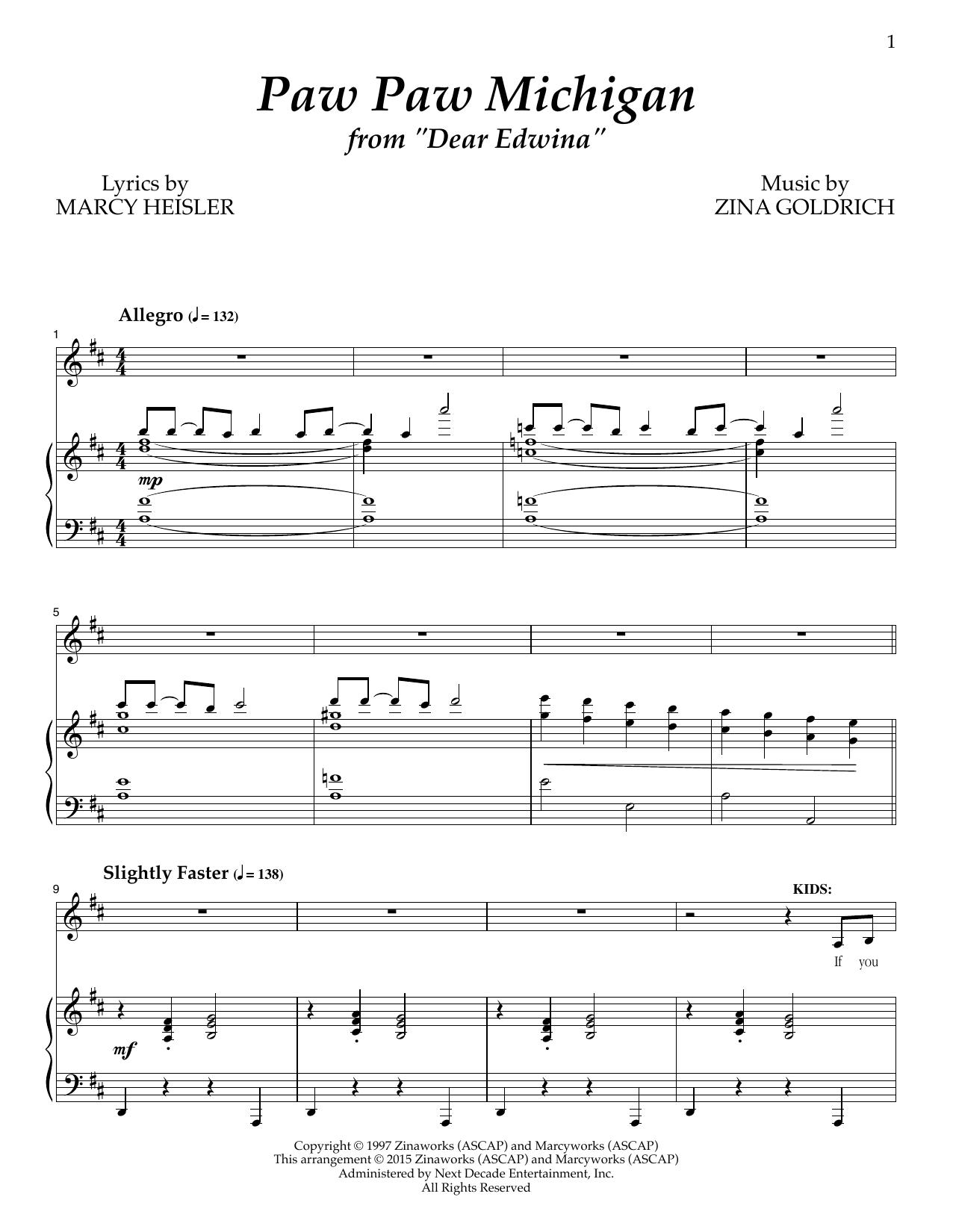 Paw Paw Michigan Sheet Music