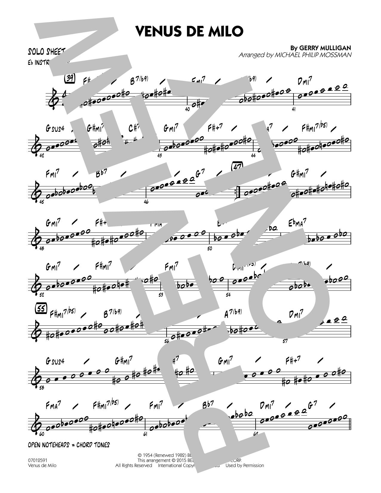 Venus de Milo - Eb Solo Sheet (Jazz Ensemble)