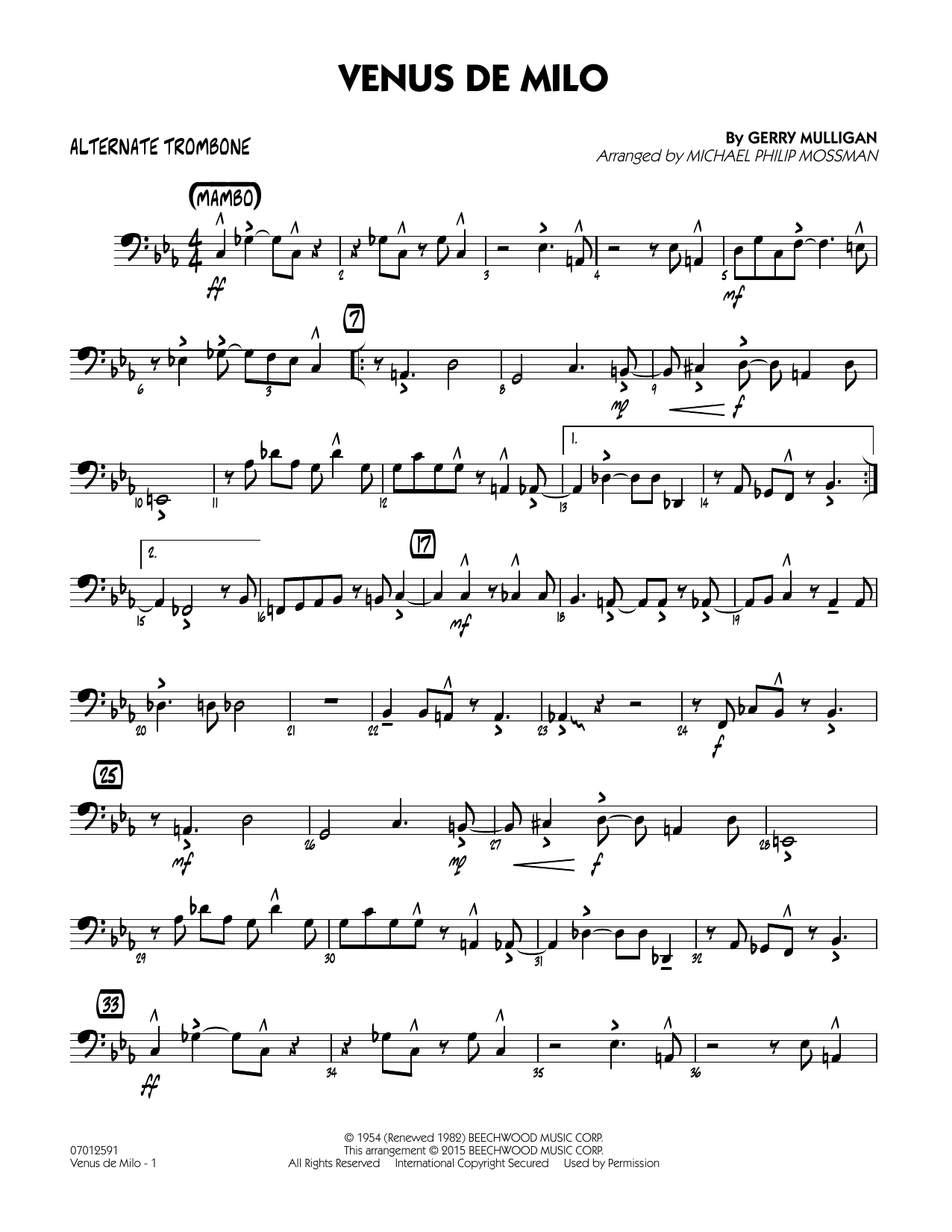 Venus de Milo - Alternate Trombone (Jazz Ensemble)