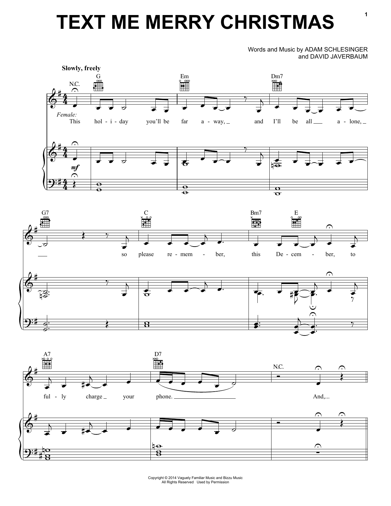 Text Me Merry Christmas (Piano, Vocal & Guitar (Right-Hand Melody))