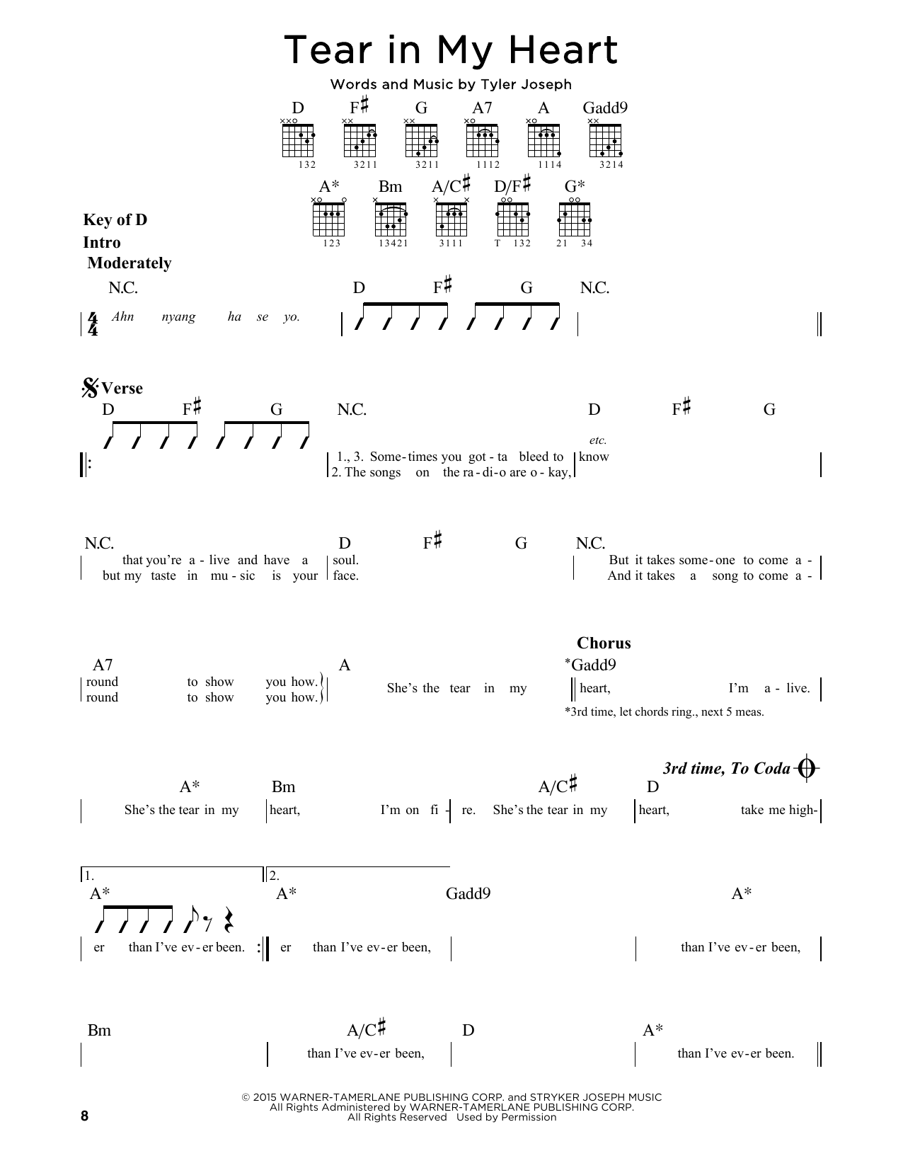 Tear In My Heart Sheet Music By Twenty One Pilots Guitar Lead Sheet