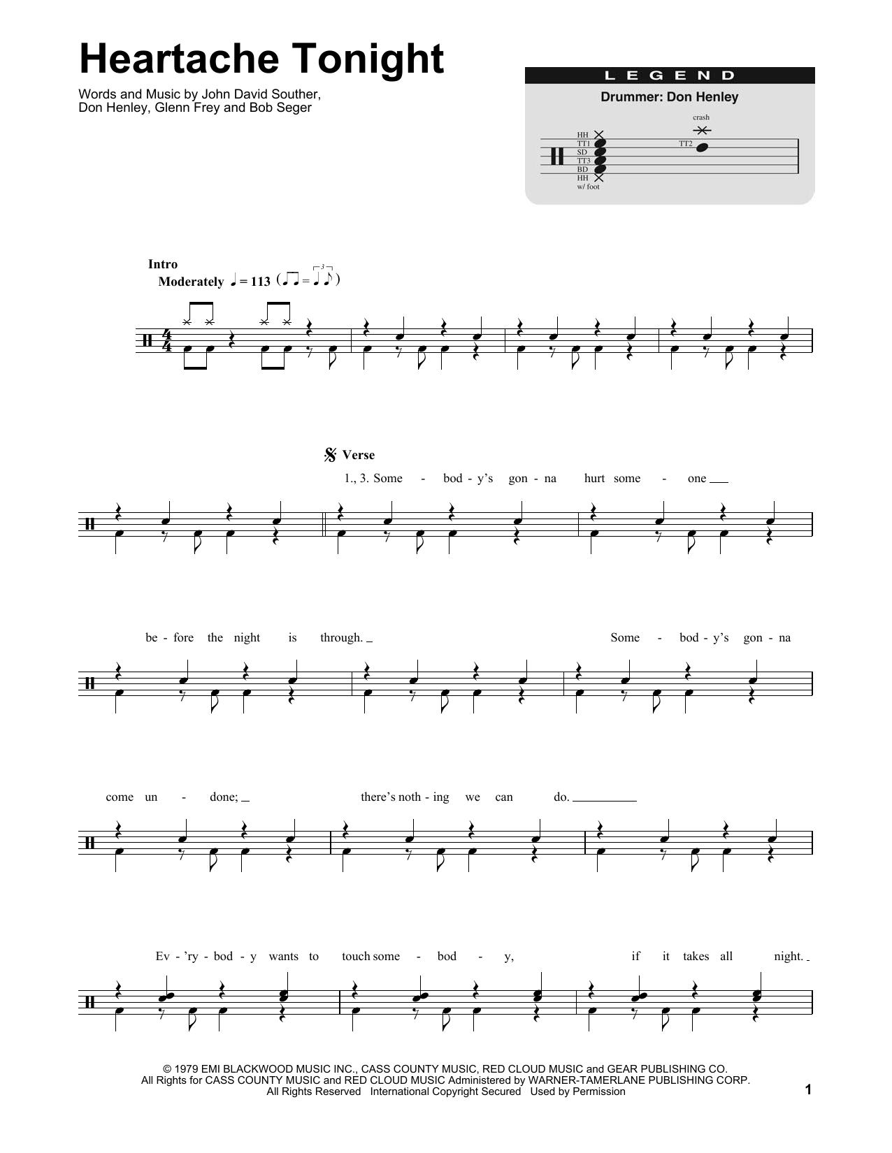 Heartache Tonight Sheet Music