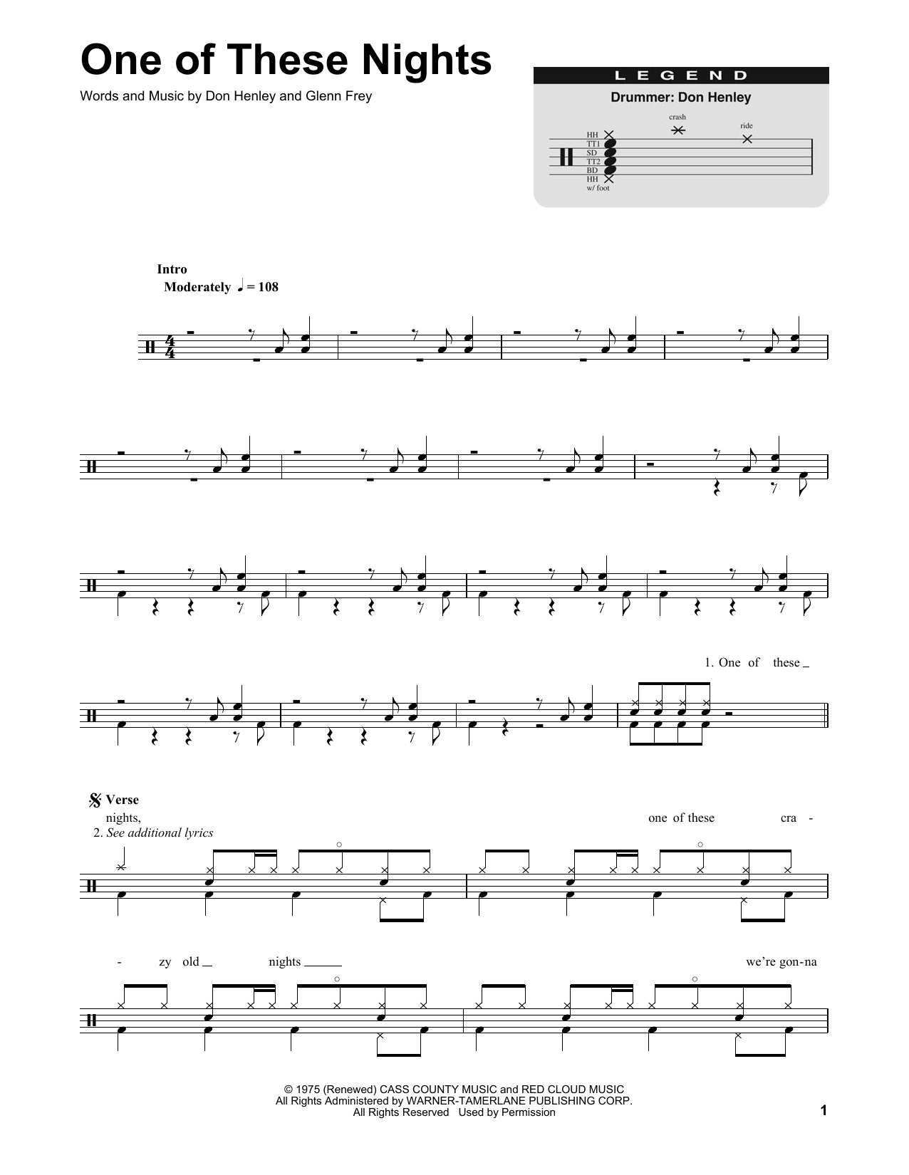One of these nights sheet music direct sheet preview hexwebz Images