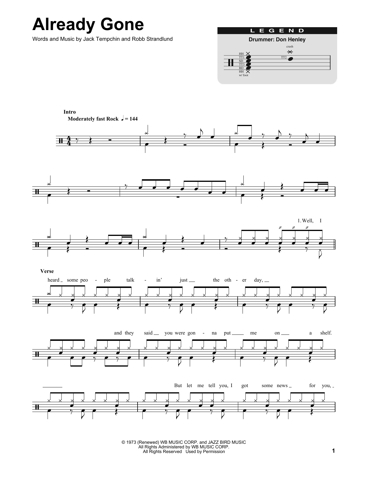 Already Gone Sheet Music