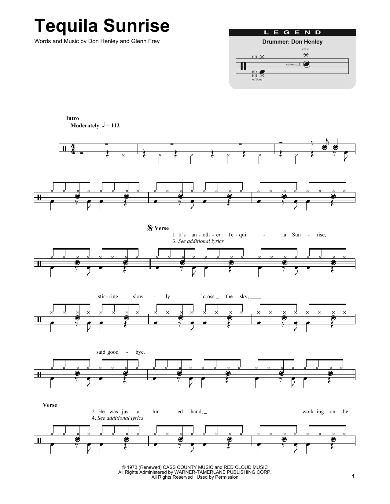 Tequila Sunrise Sheet Music