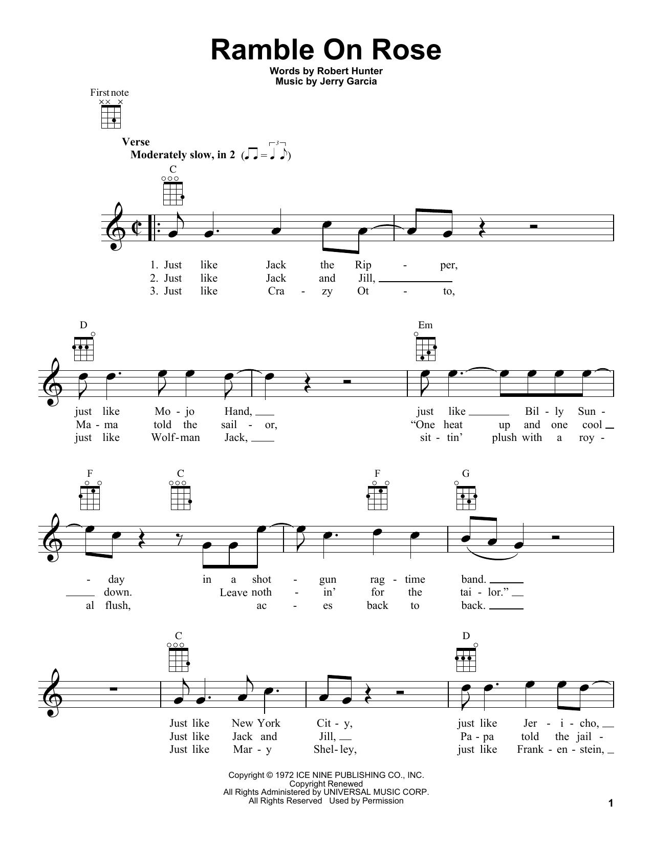 Ramble On Rose by Grateful Dead   Ukulele   Guitar Instructor