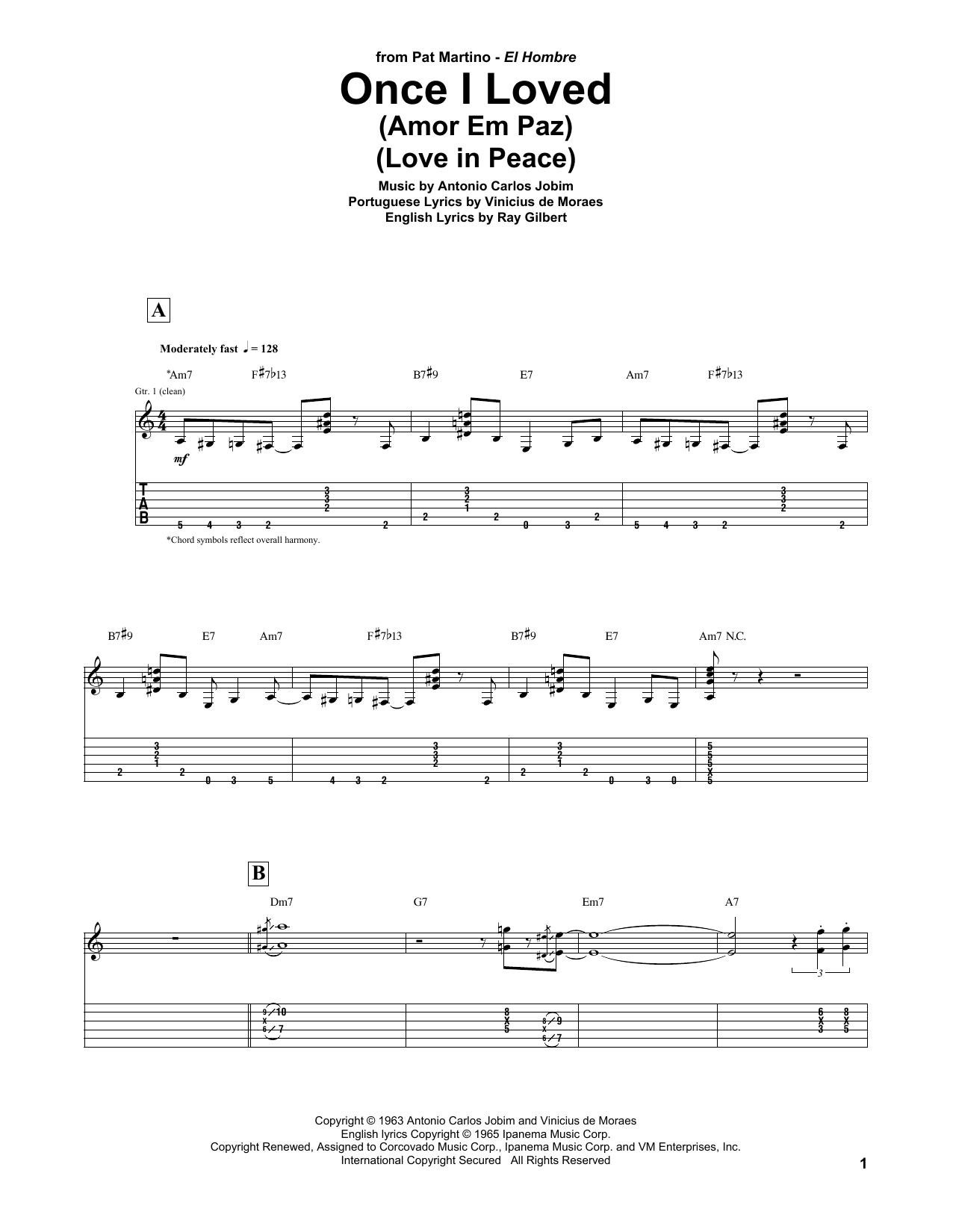 Once I Loved (Amor Em Paz) (Love In Peace) Sheet Music
