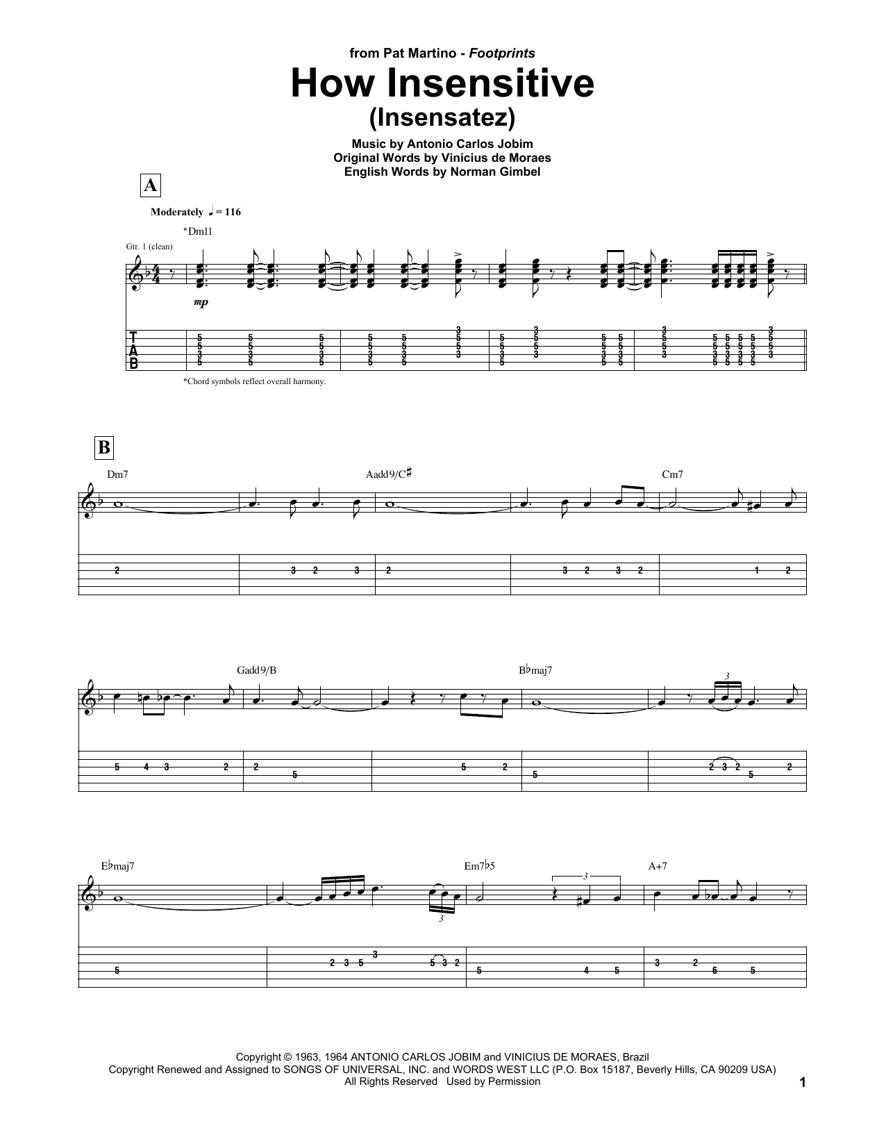 Tablature guitare How Insensitive (Insensatez) de Pat Martino - Tablature Guitare