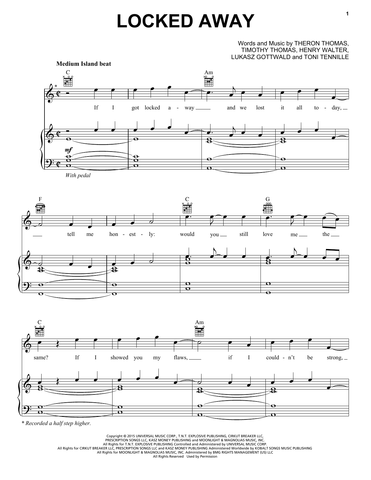 locked away sheet music by r city feat adam levine
