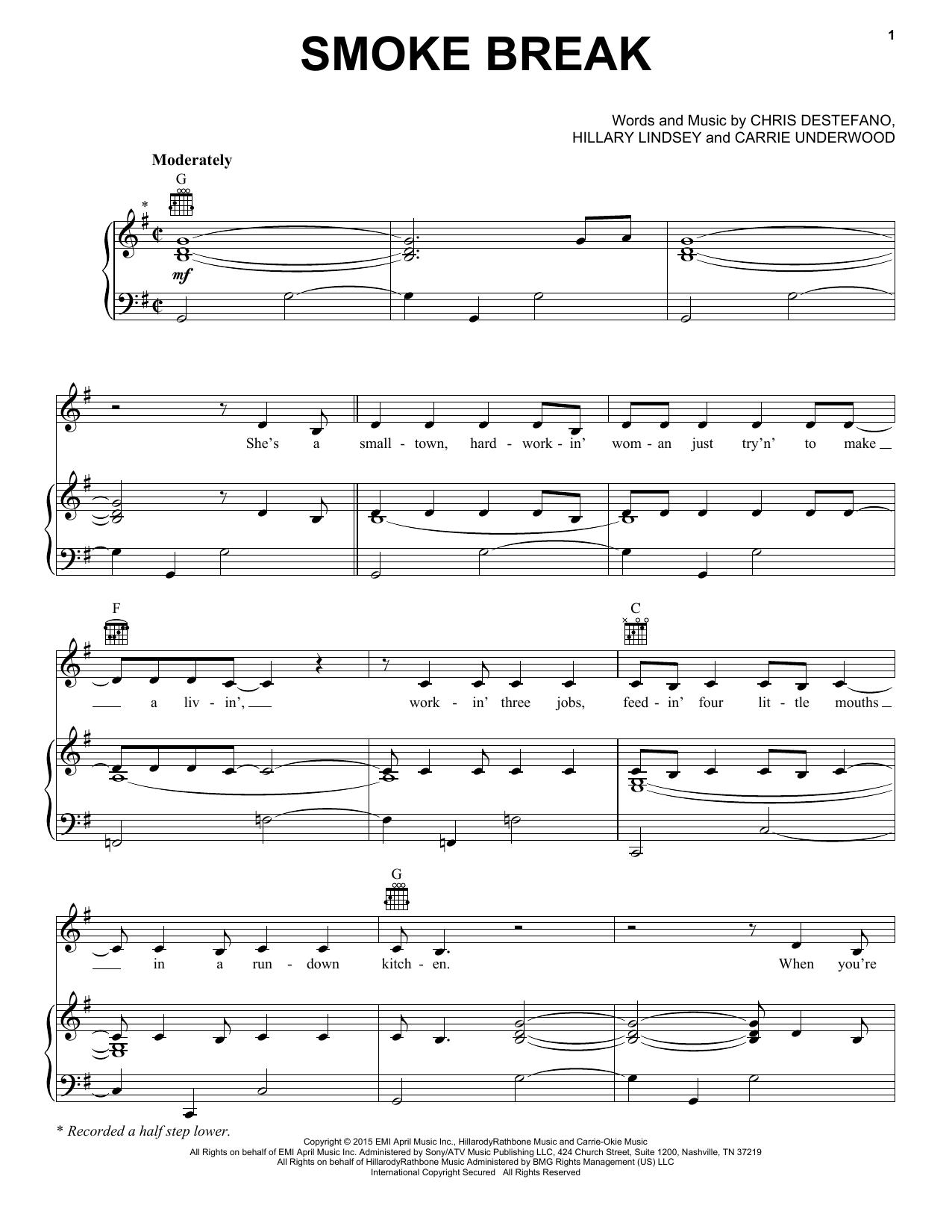 Partition piano Smoke Break de Carrie Underwood - Piano Voix Guitare (Mélodie Main Droite)