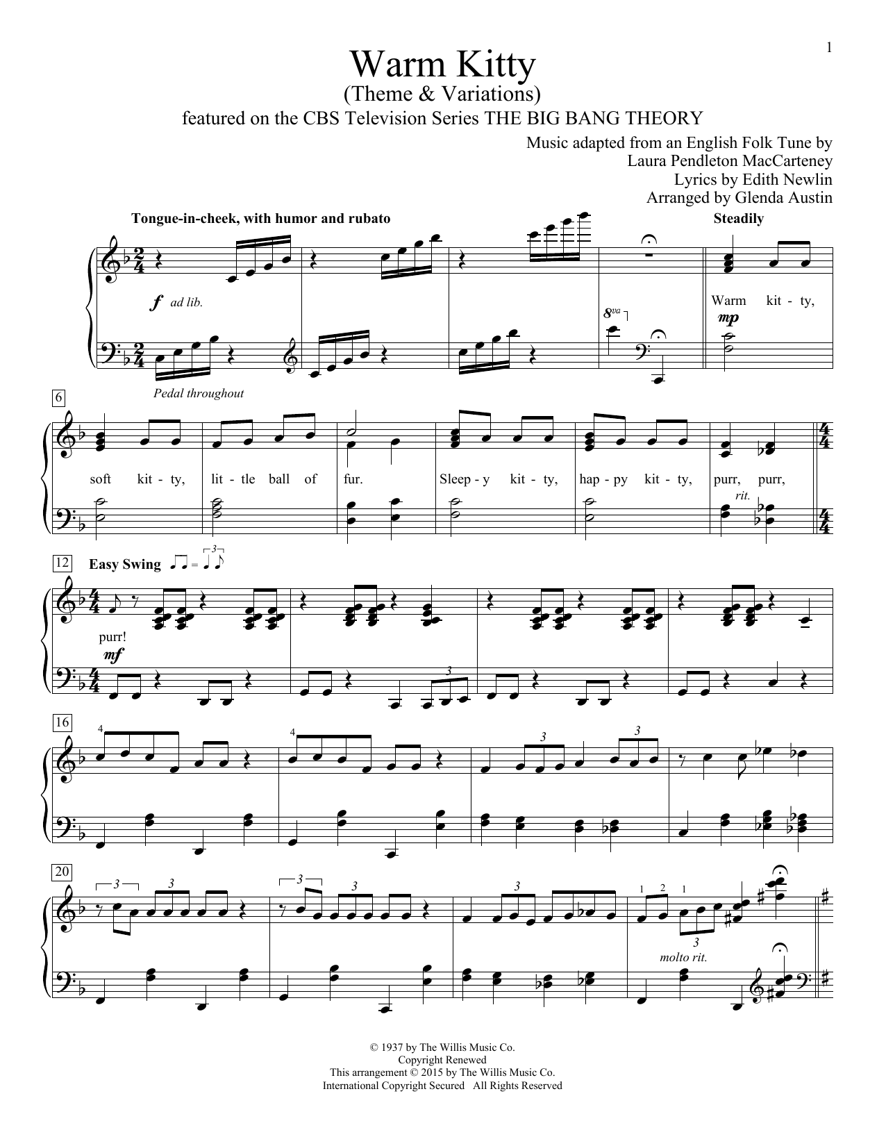 Warm Kitty Sheet Music