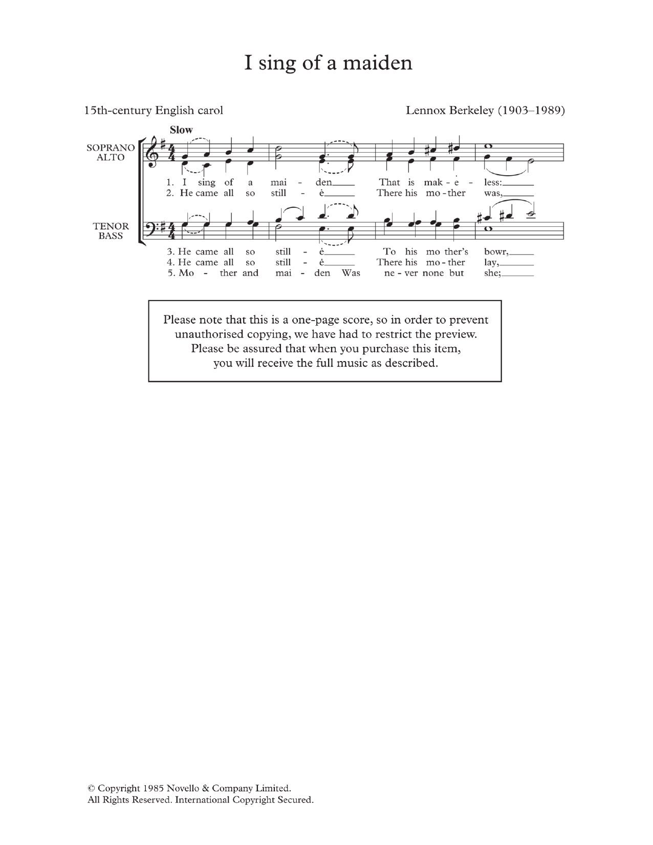 I Sing Of A Maiden (arr. Lennox Berkeley) Sheet Music