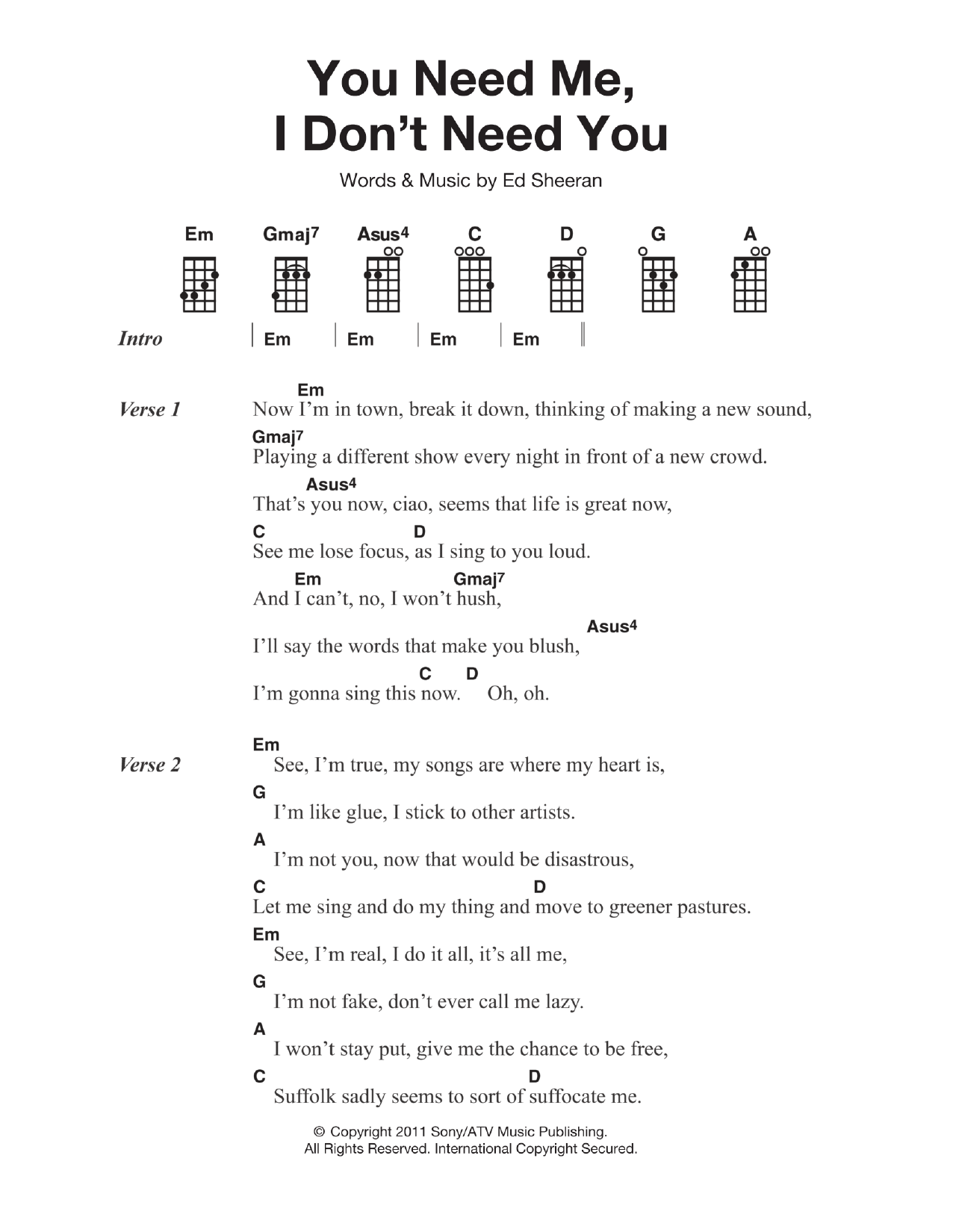 You Need Me, I Don't Need You Sheet Music