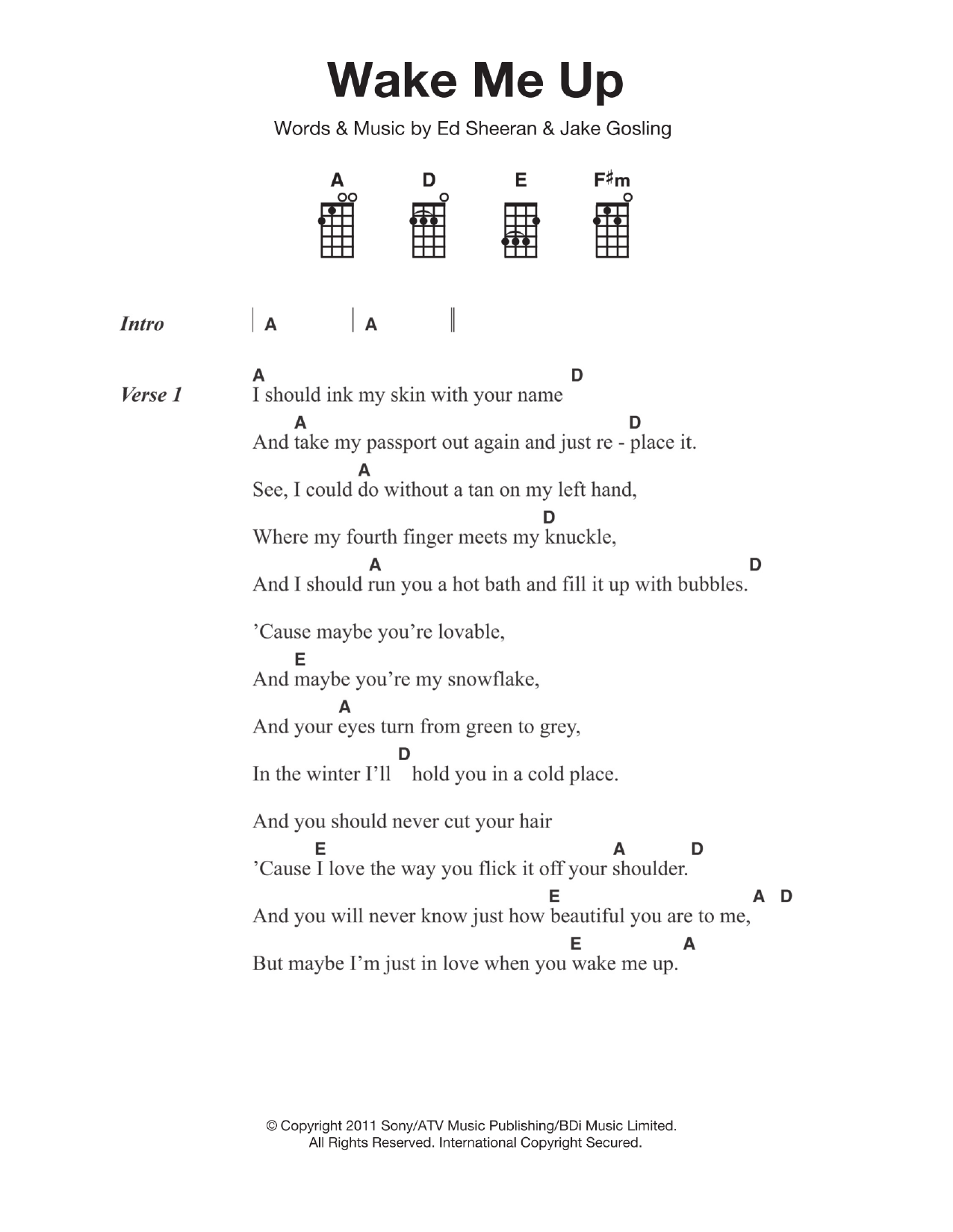 Wake Me Up Sheet Music  Ed Sheeran  Piano, Vocal & Guitar