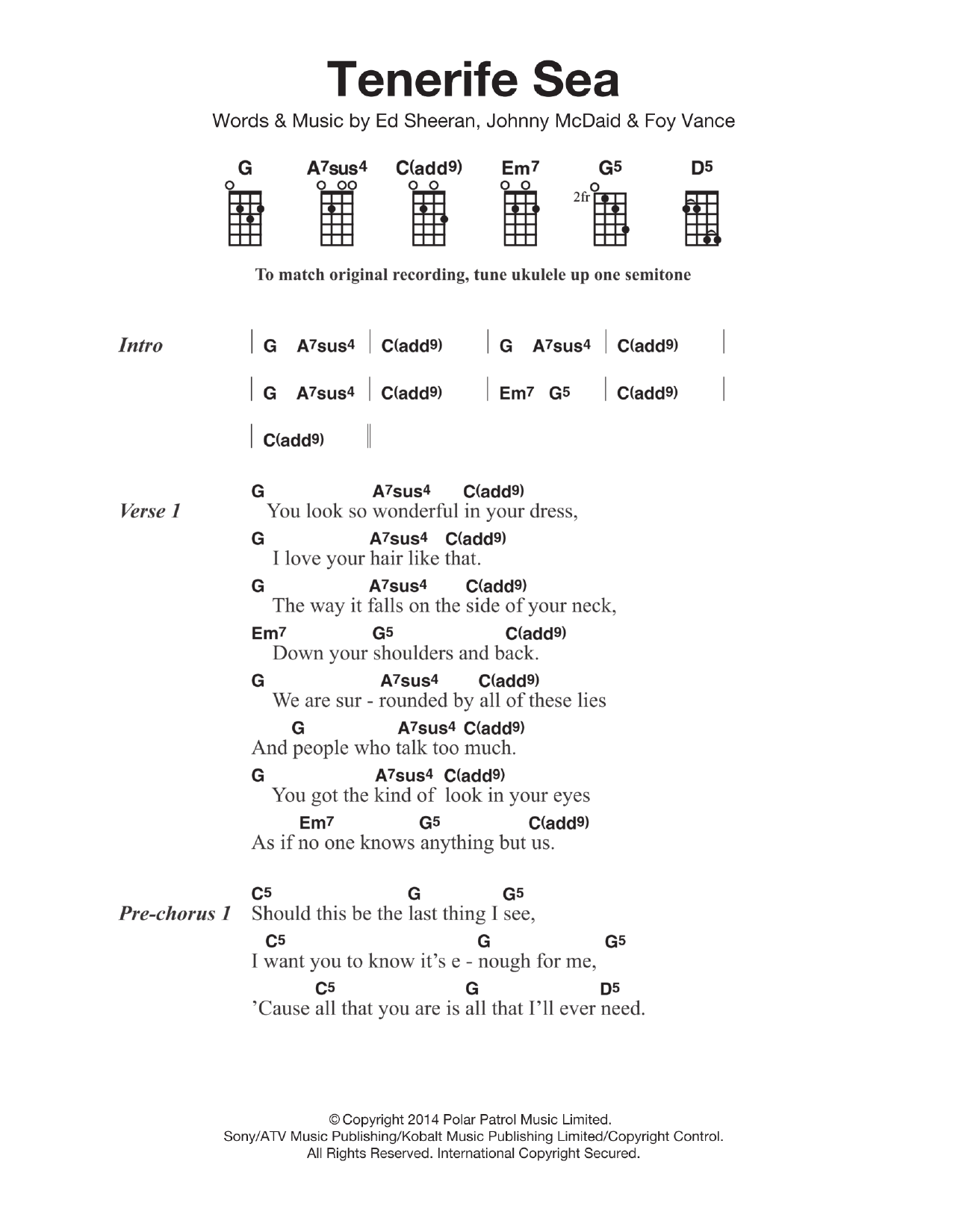 Tenerife Sea (Ukulele Chords/Lyrics)