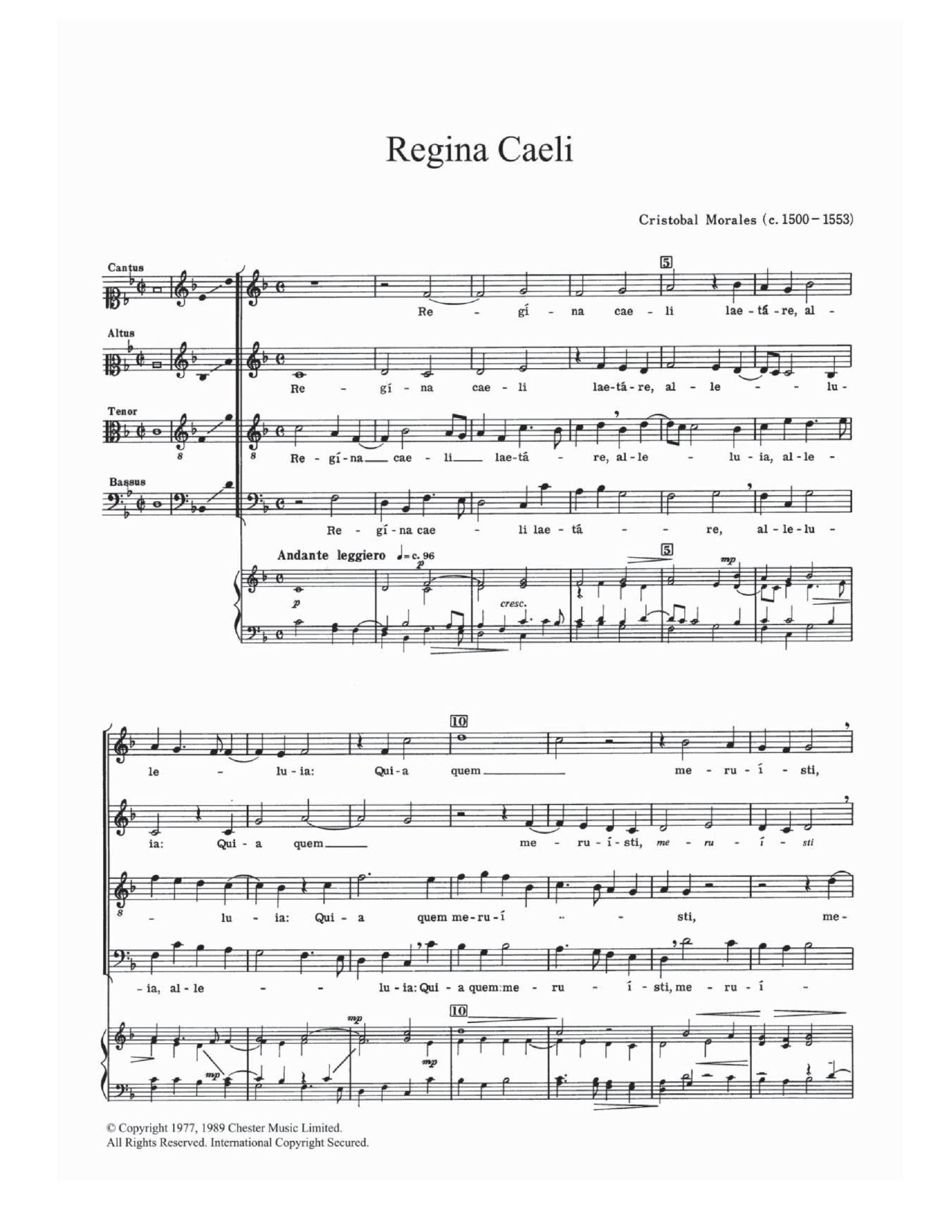Regina Caeli Sheet Music