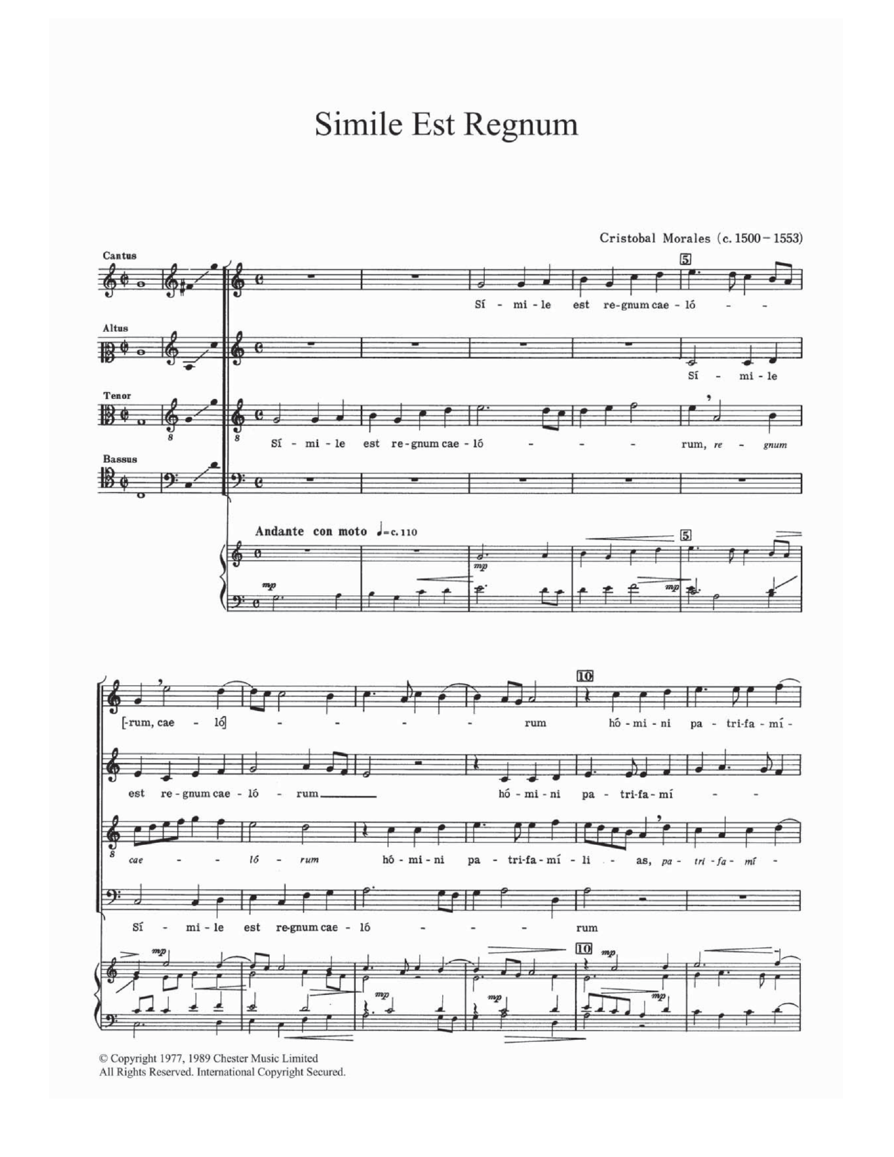 Simile Est Regnum Sheet Music