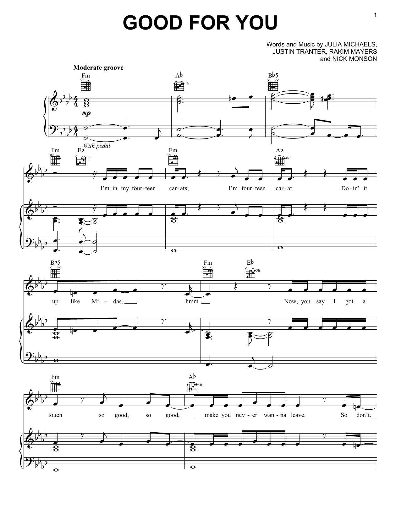 Good For You (Piano, Vocal & Guitar (Right-Hand Melody))