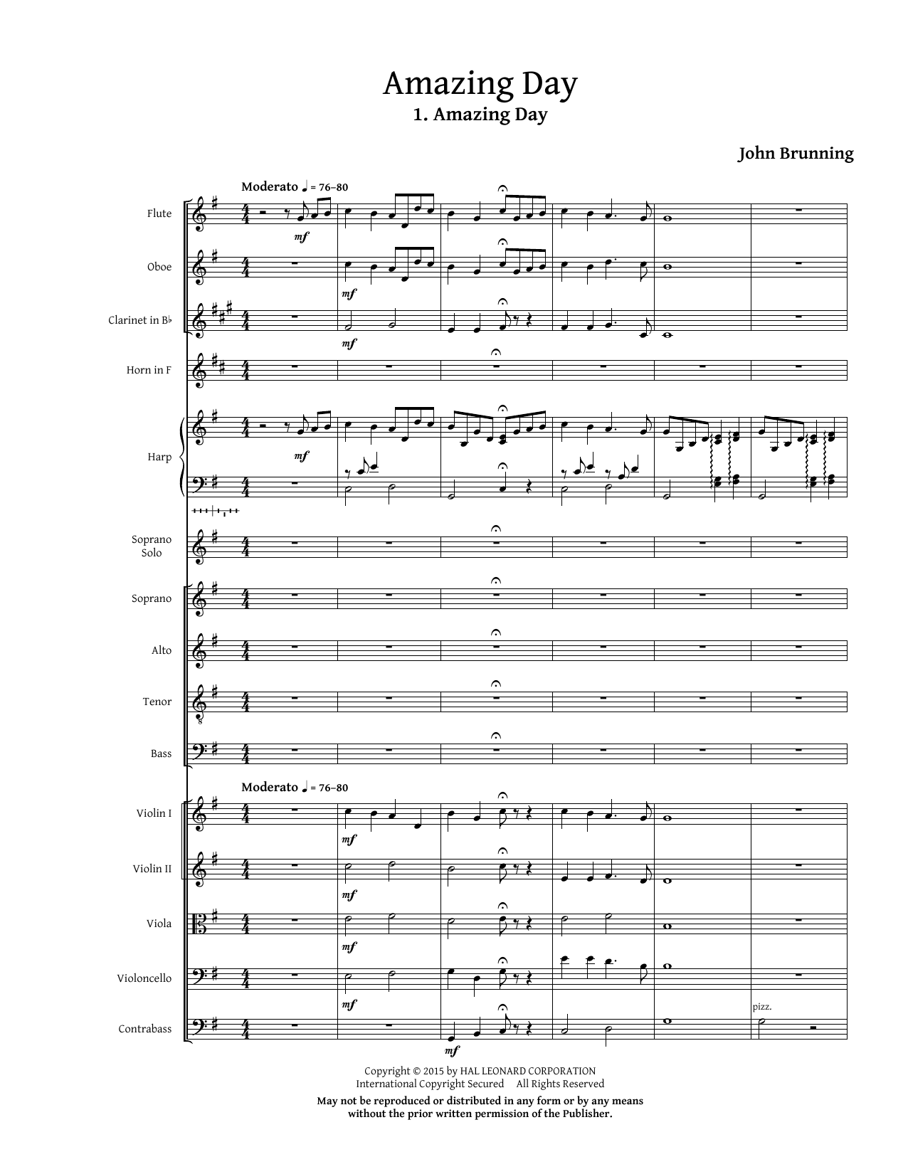 Amazing Day (COMPLETE) sheet music for orchestra/band (chamber ensemble) by John Brunning. Score Image Preview.