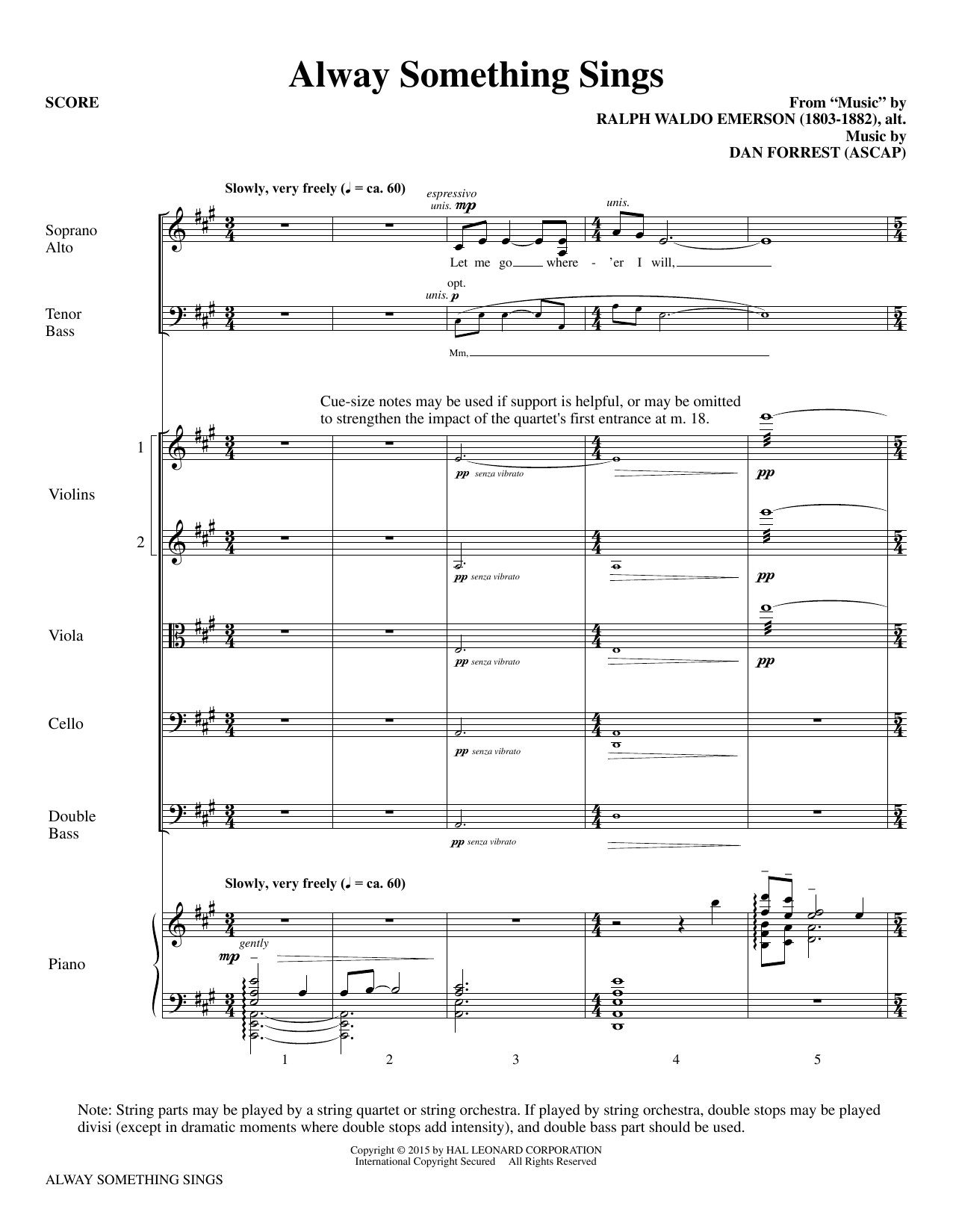 Alway Something Sings (COMPLETE) sheet music for orchestra/band by Dan Forrest and Ralph Waldo Emerson. Score Image Preview.