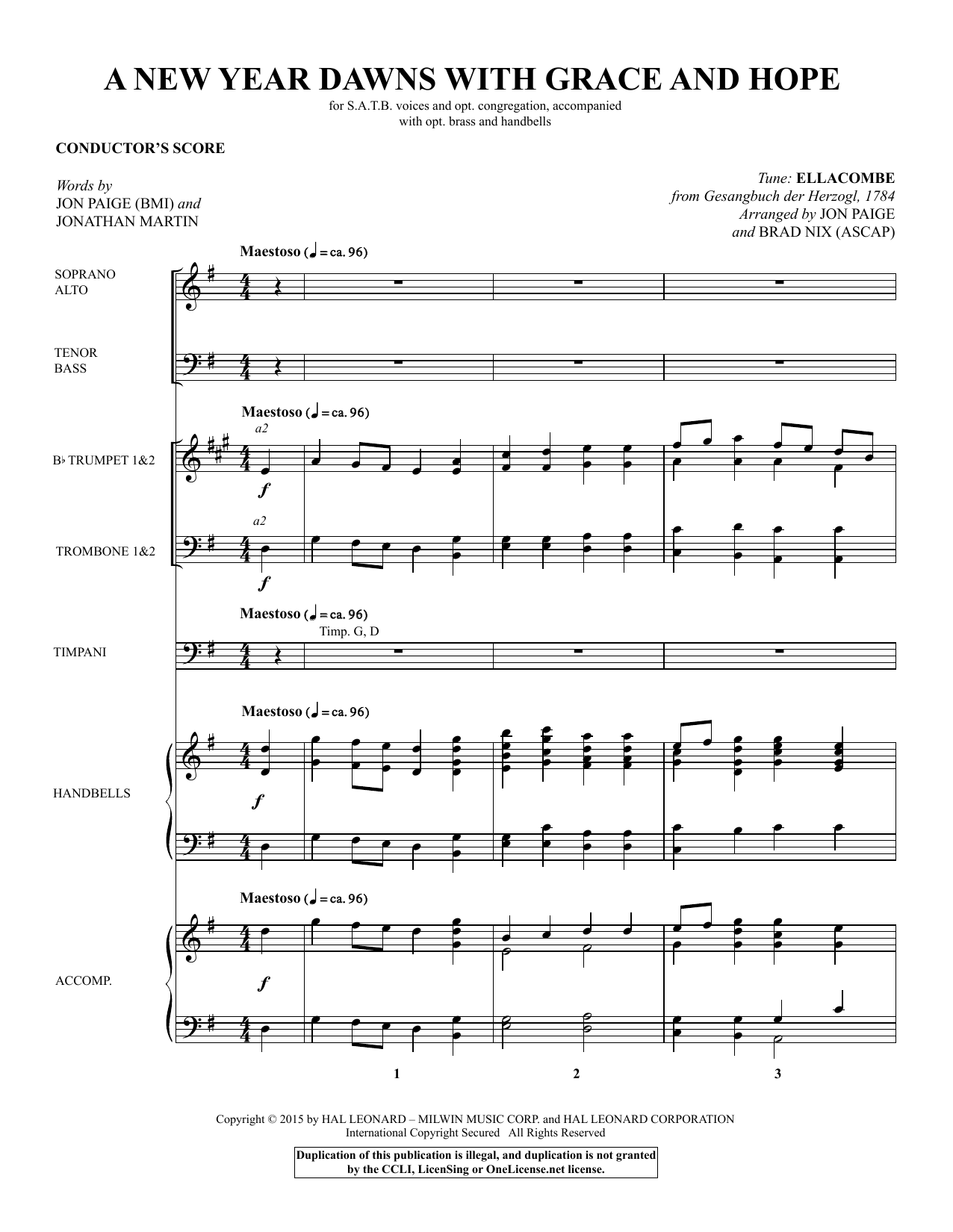 A New Year Dawns with Grace and Hope (COMPLETE) sheet music for orchestra/band by Brad Nix, Gesangbuch der Herzogl, Jon Paige and Jonathan Martin. Score Image Preview.