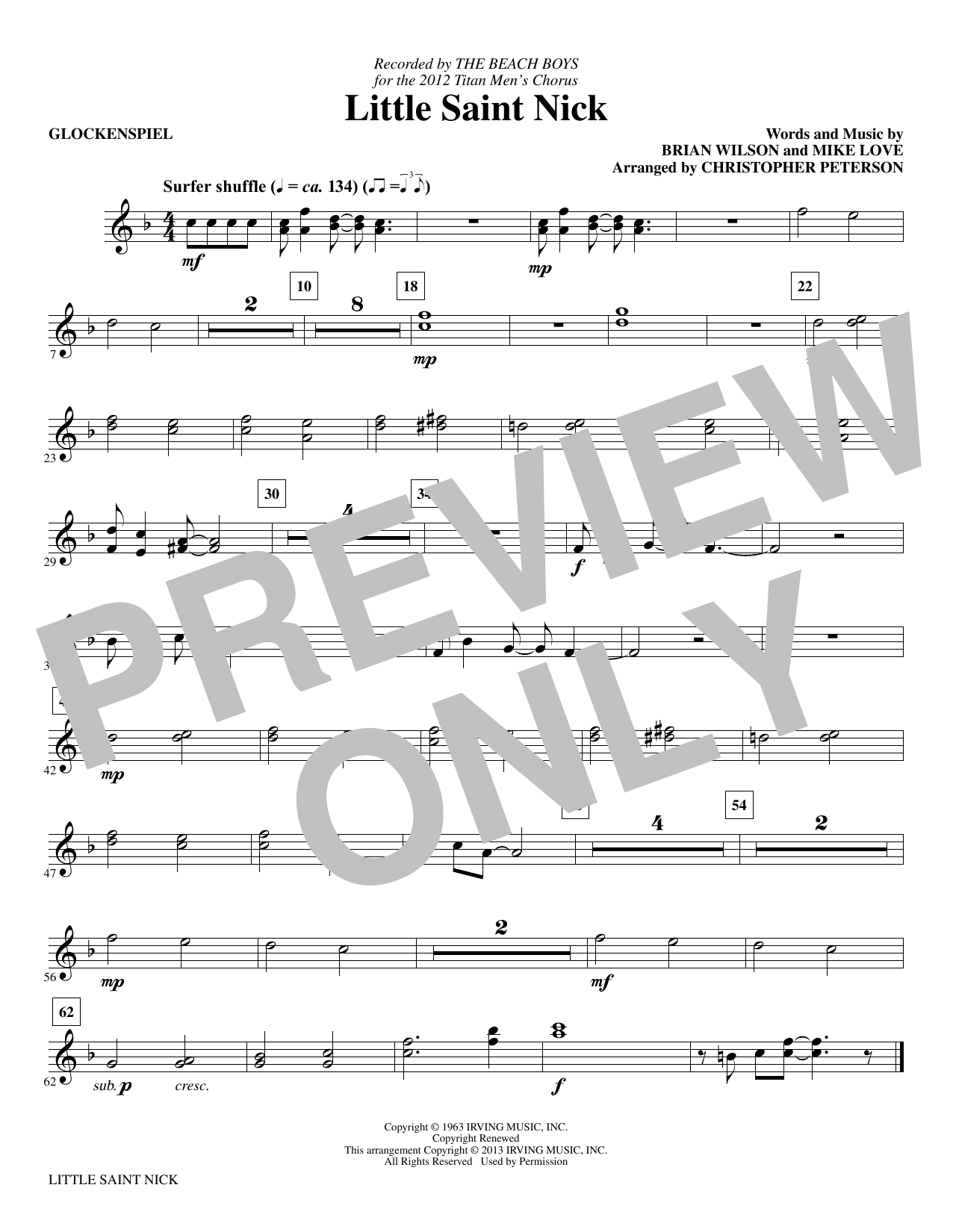 Little Saint Nick (complete set of parts) sheet music for orchestra/band by Christopher Peterson, Brian Wilson, Mike Love and The Beach Boys. Score Image Preview.