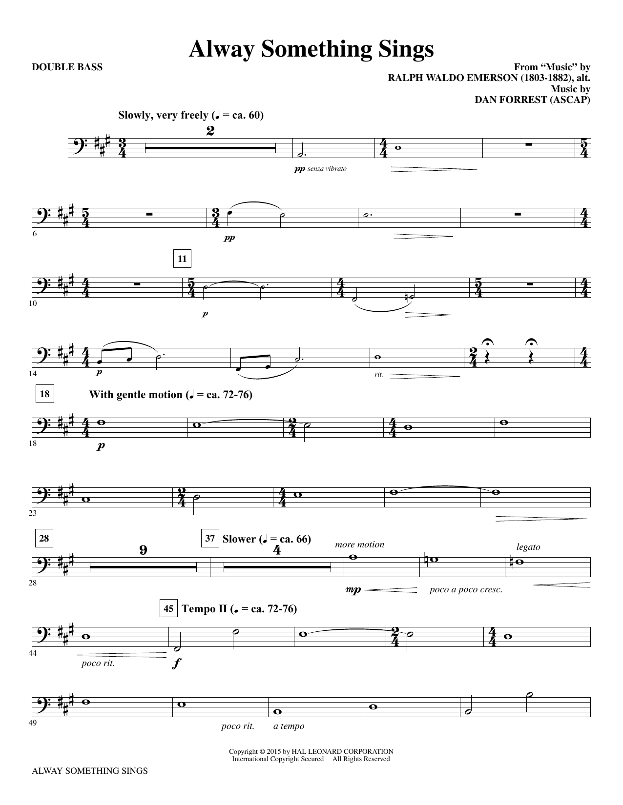 Alway Something Sings - Double Bass Partition Digitale