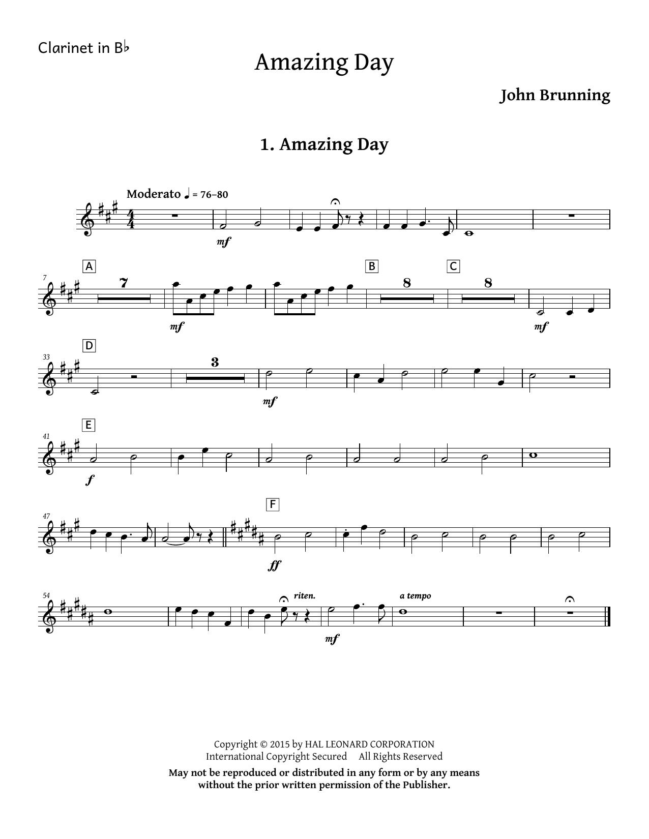 Amazing Day - Bb Clarinet Sheet Music