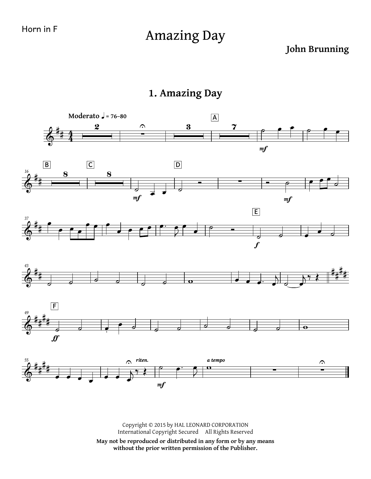 Amazing Day - F Horn Sheet Music