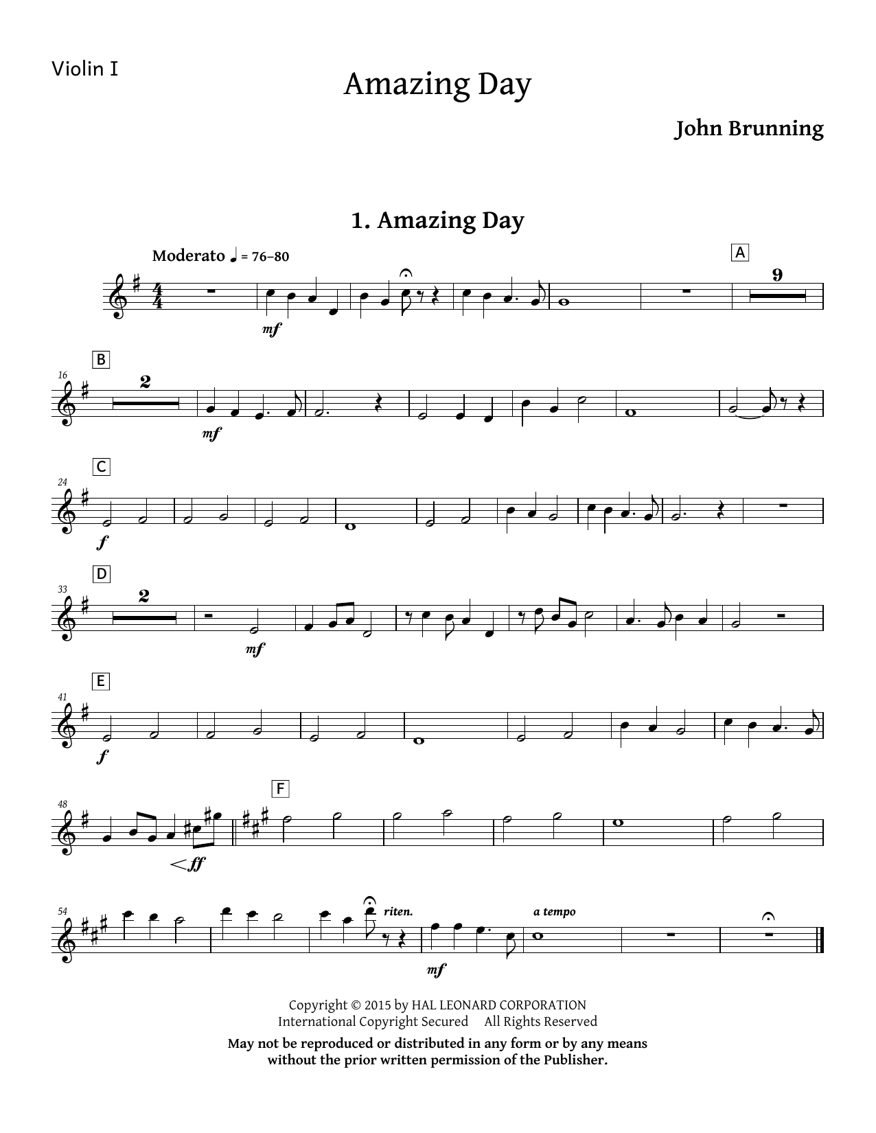 Amazing Day - Violin 1 Sheet Music