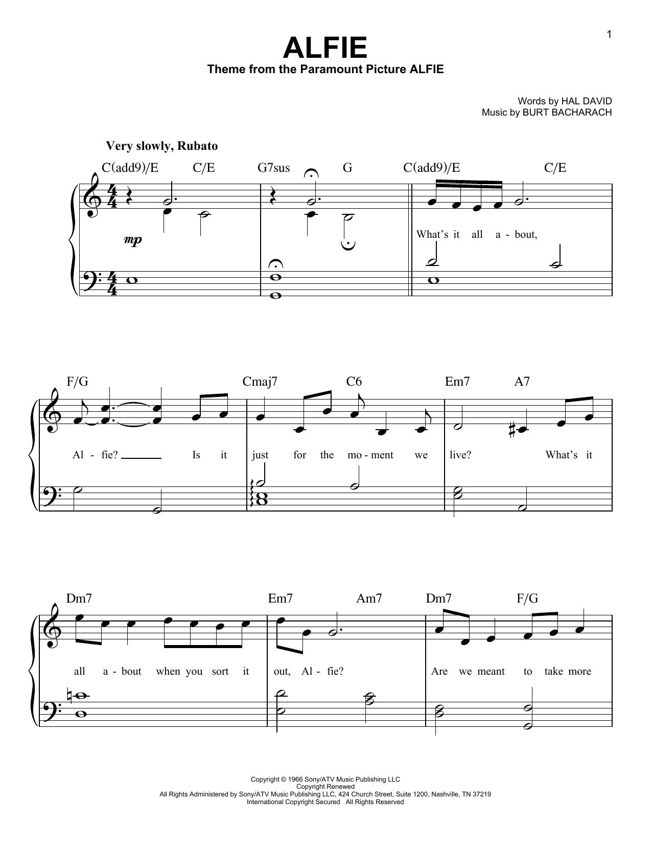 Alfie (Easy Piano)