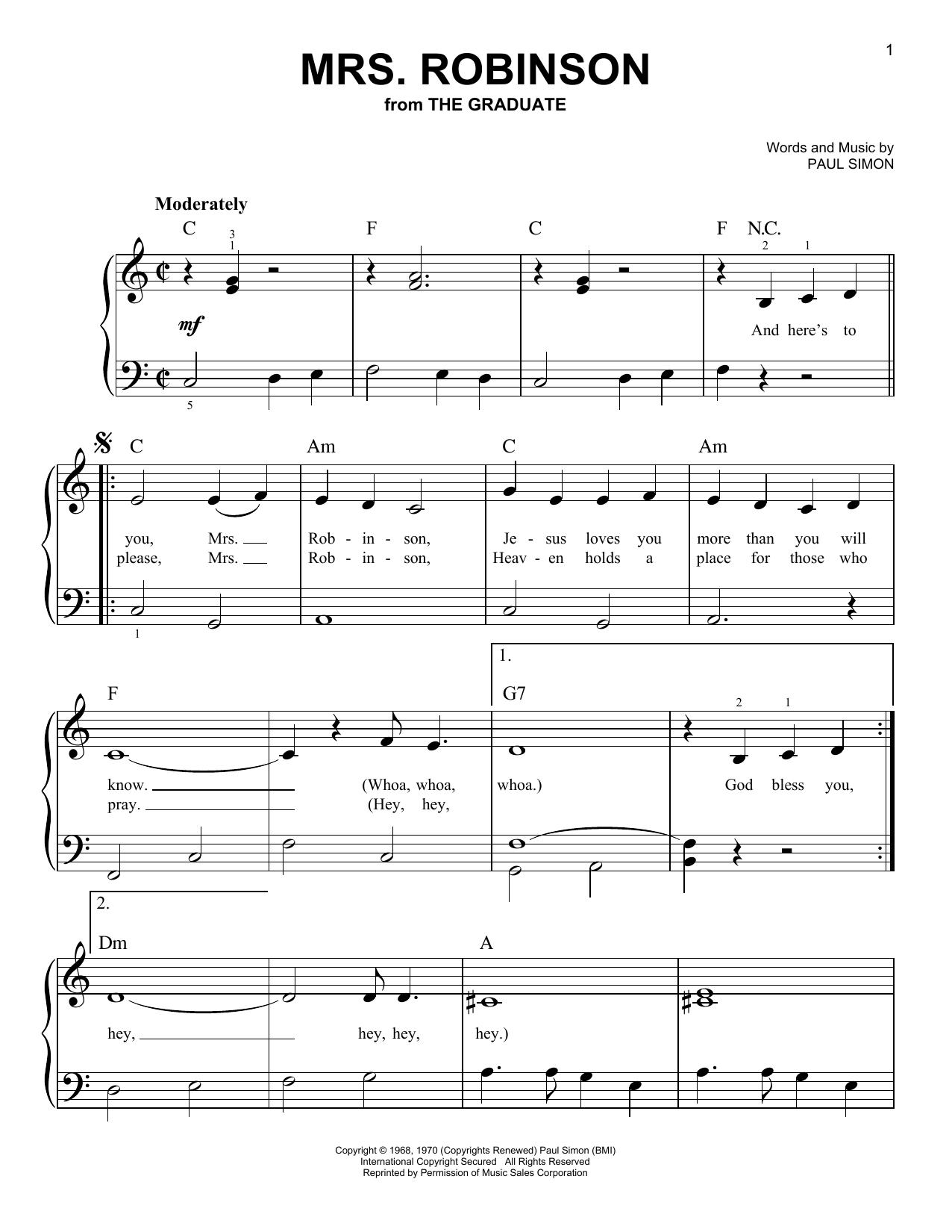 Partition piano Mrs. Robinson de Simon & Garfunkel - Piano Facile