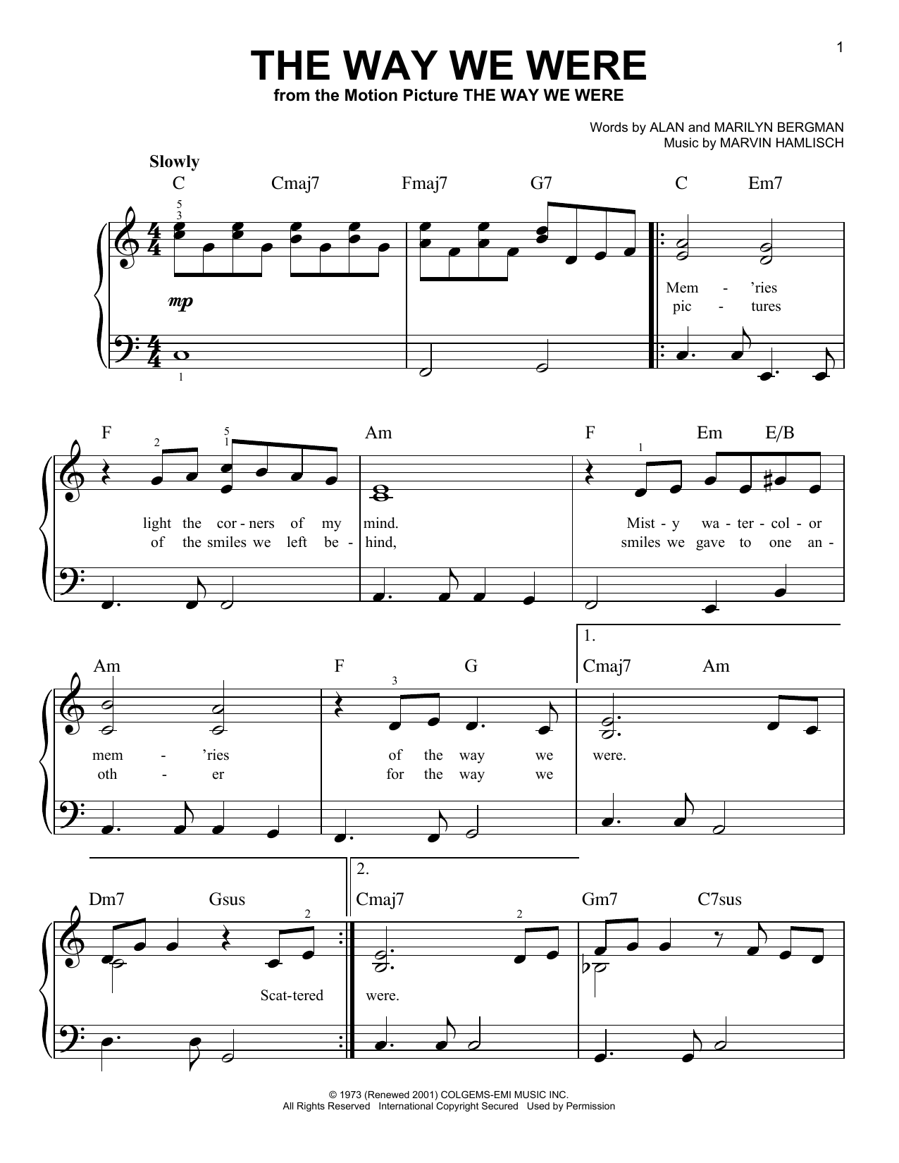 The Way We Were (Easy Piano)