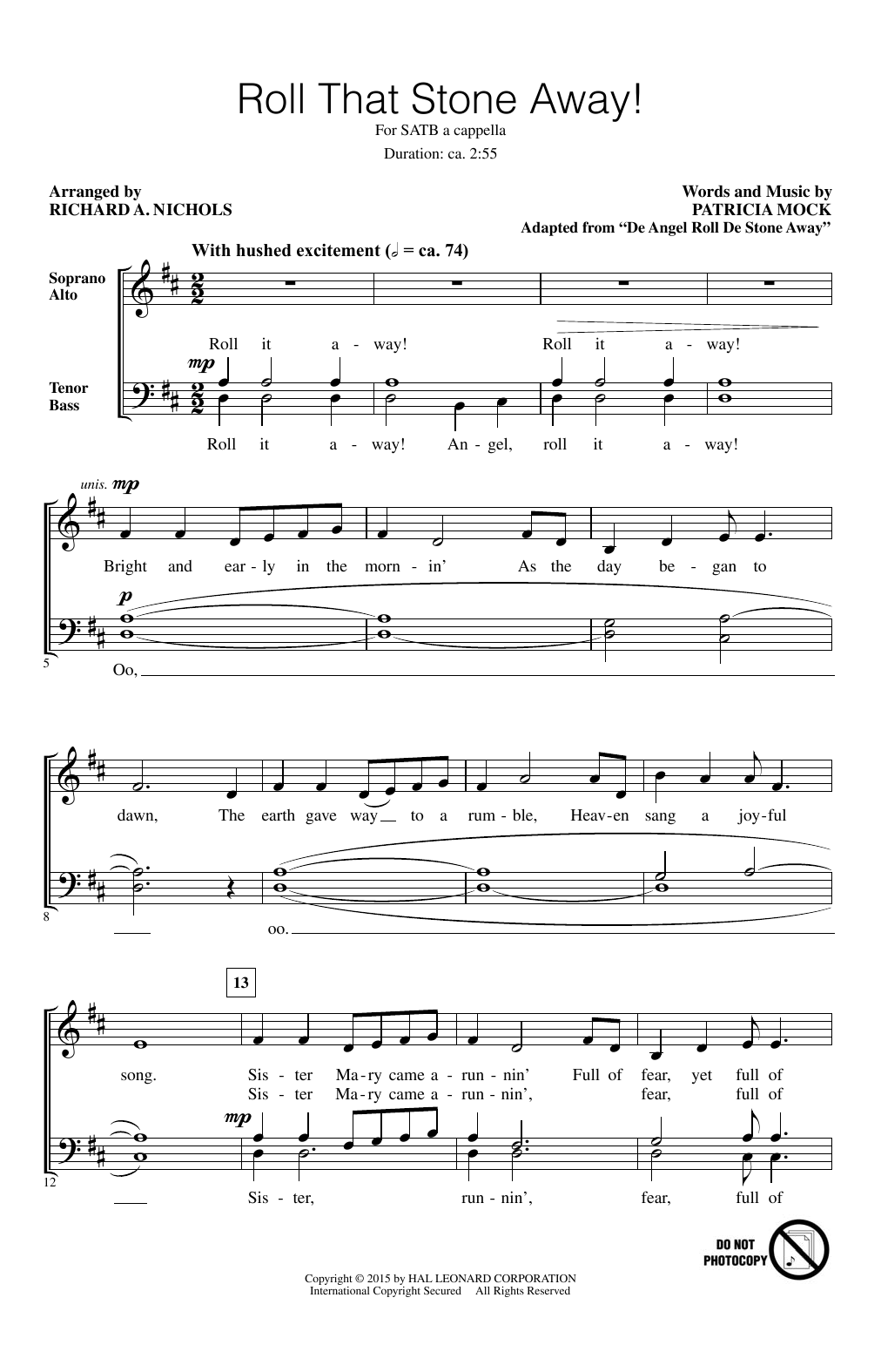 Roll That Stone Away! (arr. Richard Nichols) Sheet Music